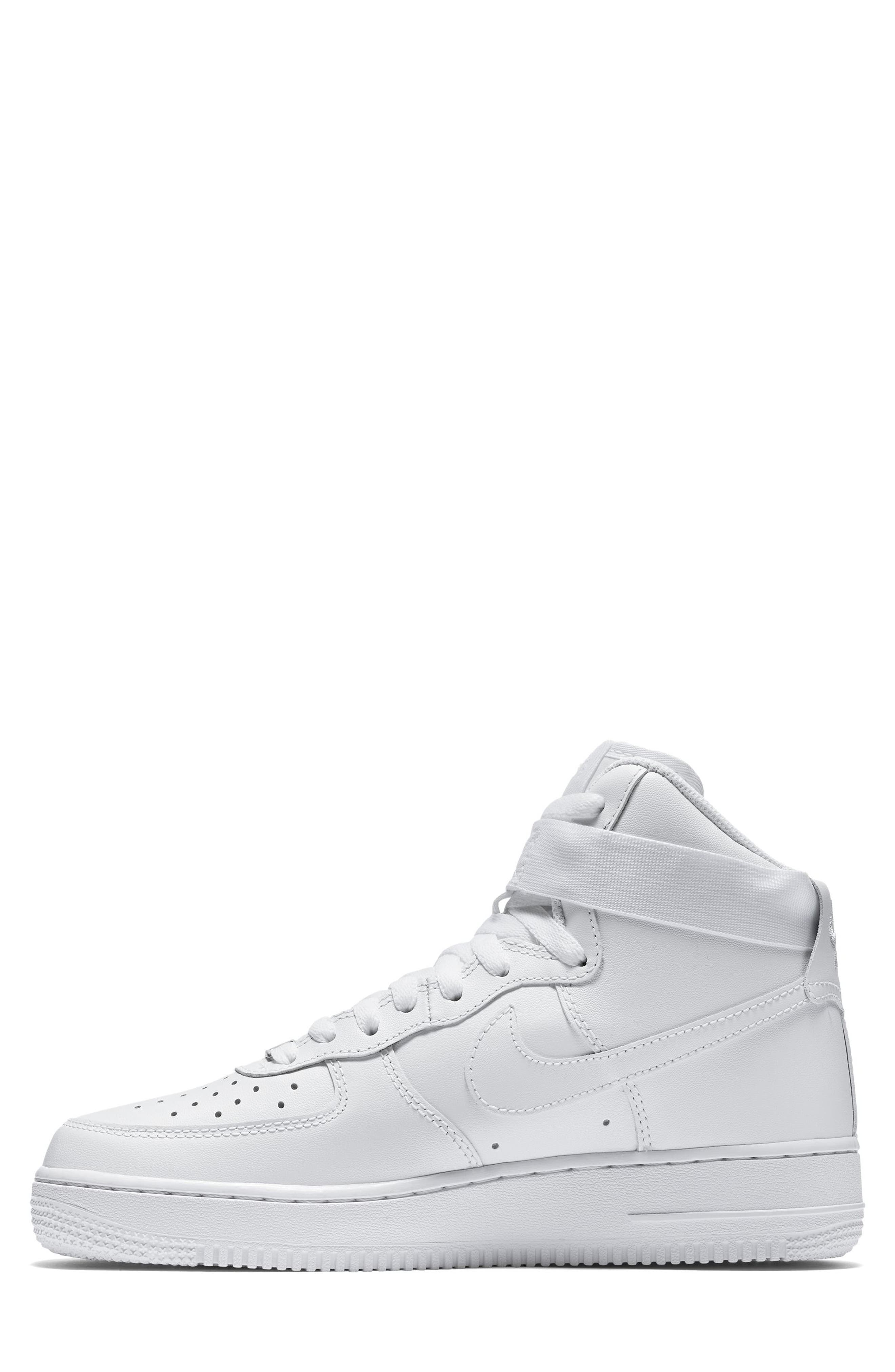 NIKE, Air Force 1 High Top Sneaker, Alternate thumbnail 3, color, WHITE/ WHITE/ WHITE