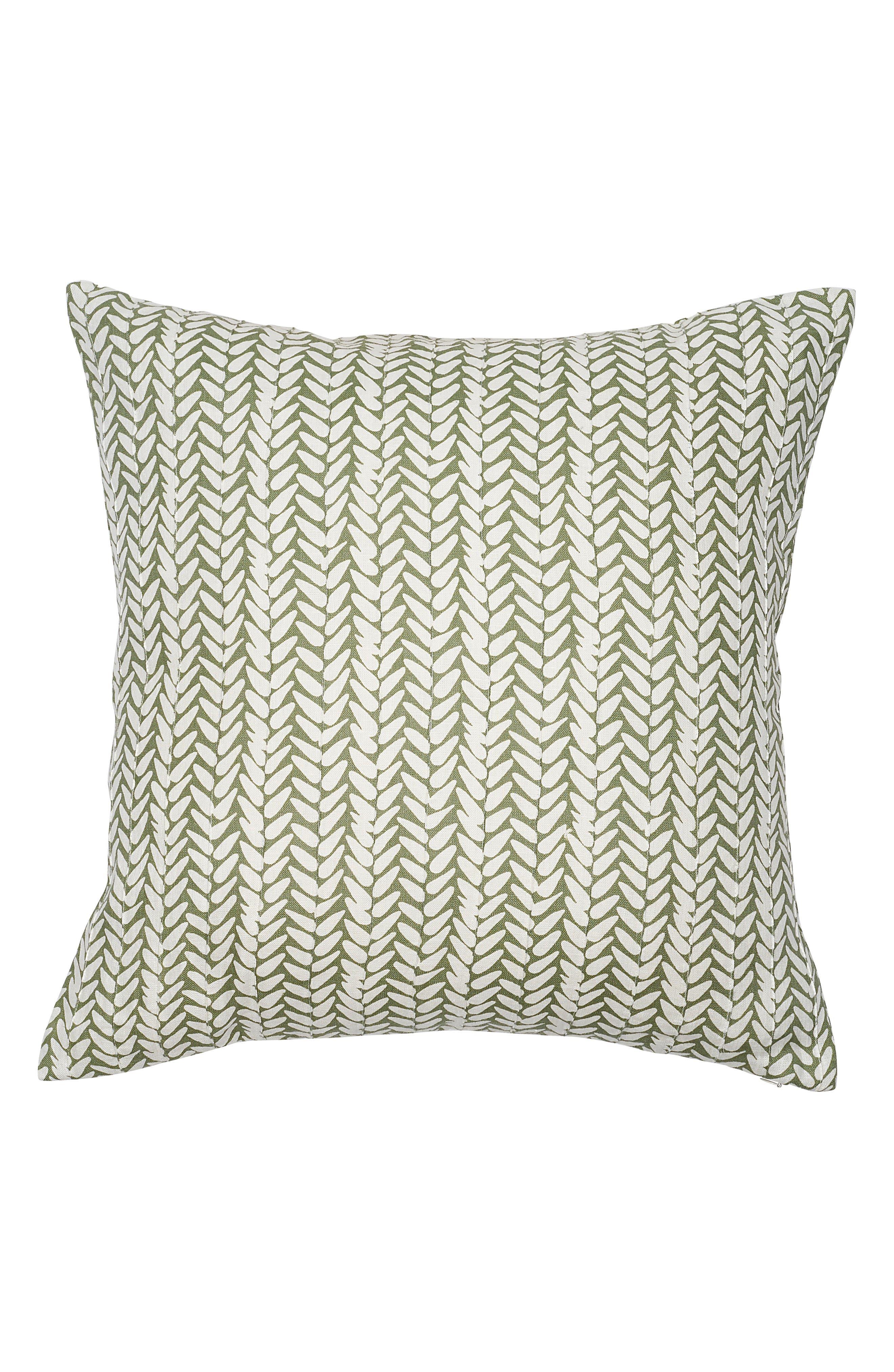 EADIE LIFESTYLE, Leaf Hand Printed Linen Accent Pillow, Main thumbnail 1, color, SAGE