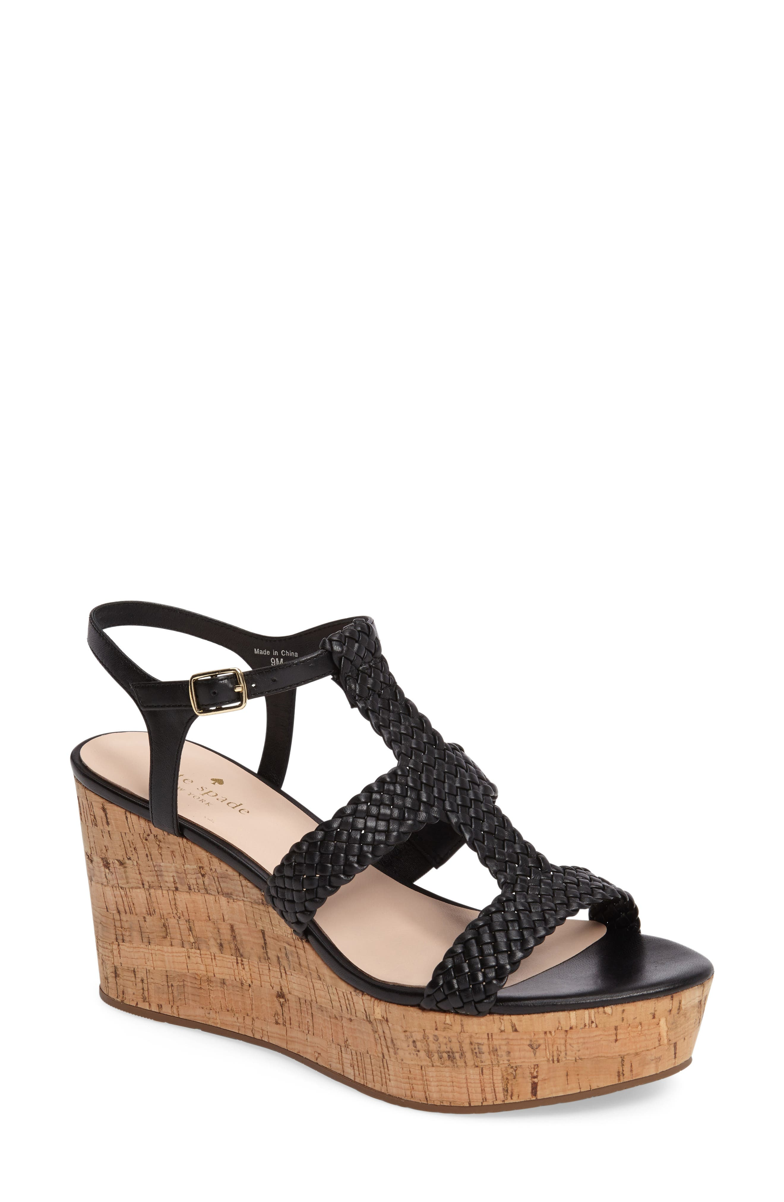 KATE SPADE NEW YORK, tianna platform sandal, Main thumbnail 1, color, 001