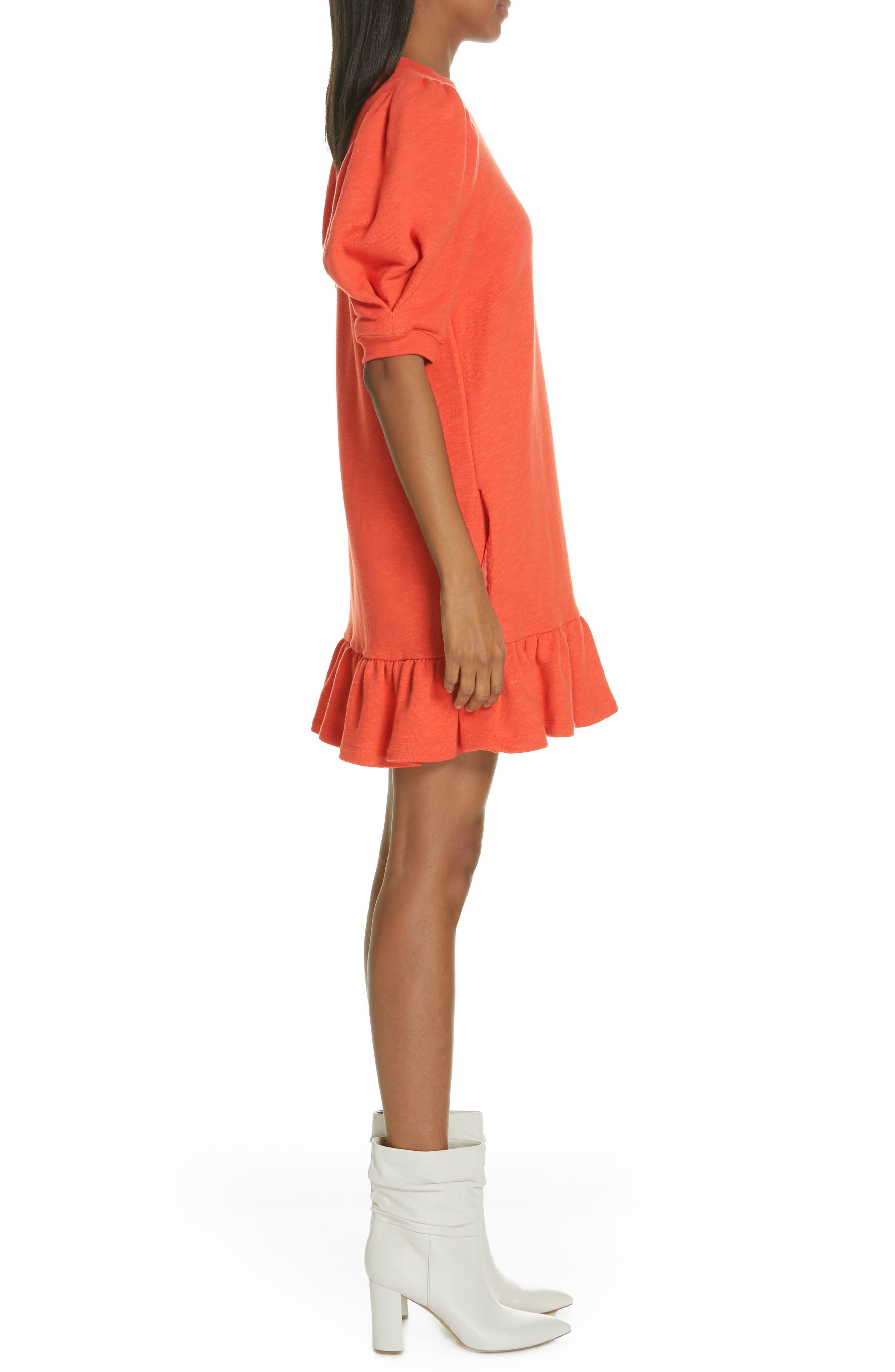 ULLA JOHNSON, Landry Puff Sleeve Sweatshirt Dress, Alternate thumbnail 3, color, CHILI