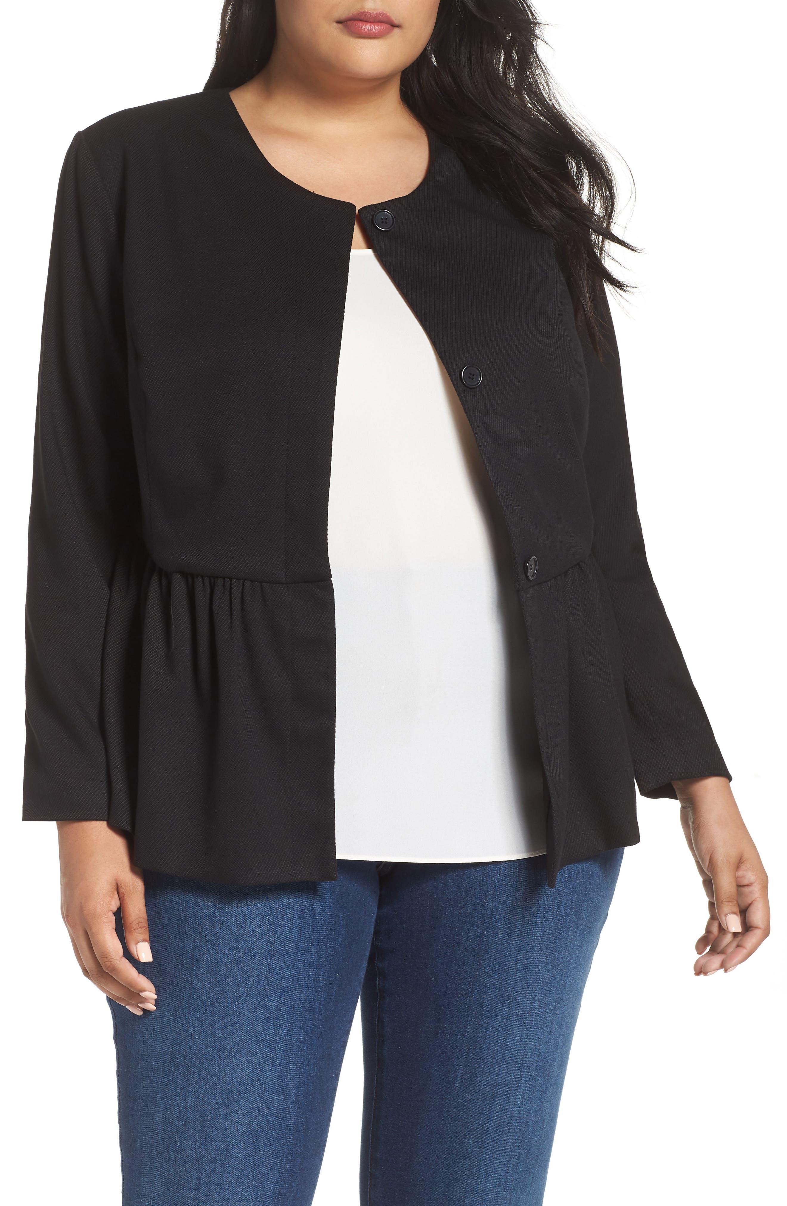 SEJOUR Peplum Jacket, Main, color, BLACK