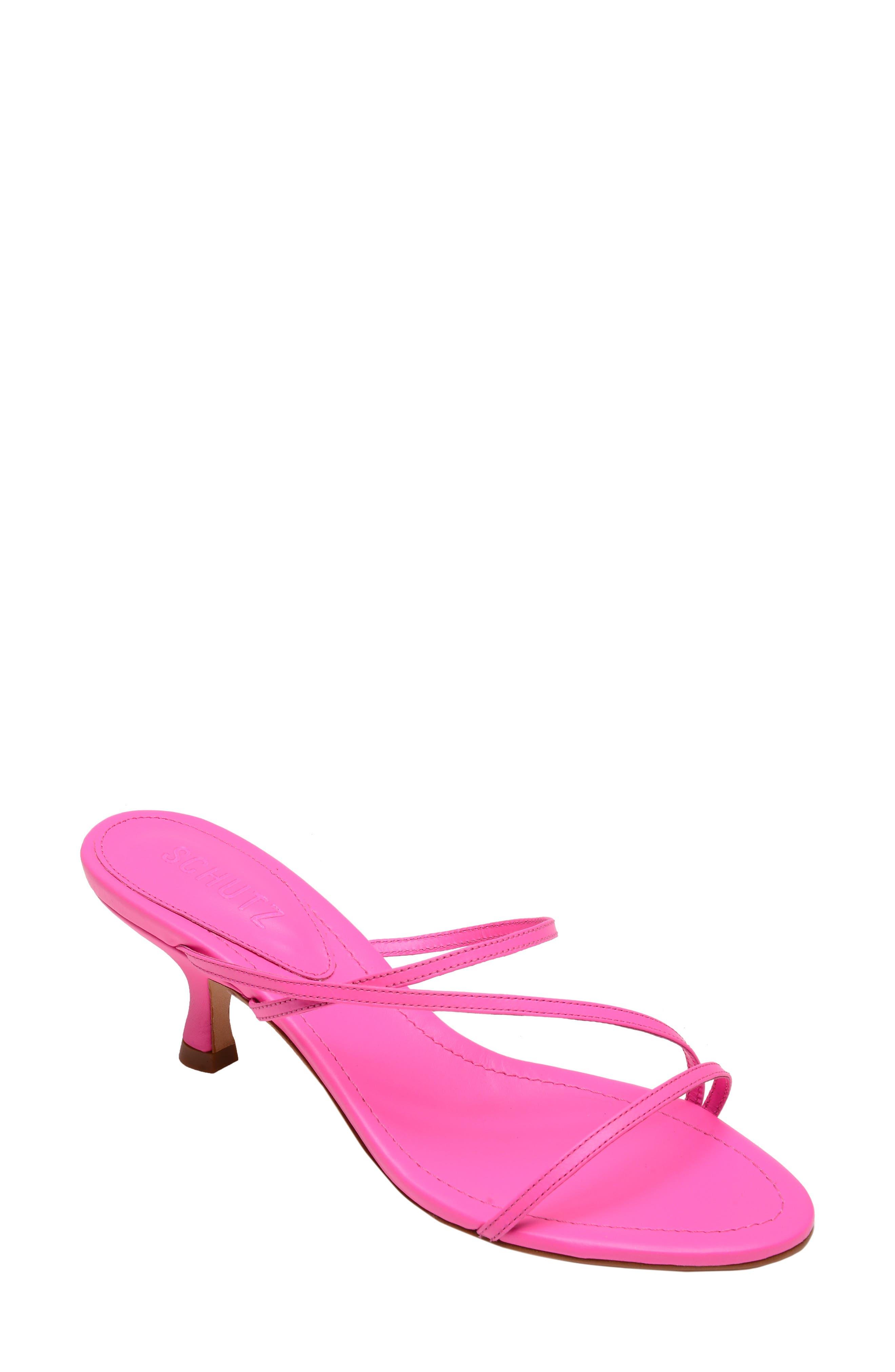 SCHUTZ Evenise Slide Sandal, Main, color, NEON PINK