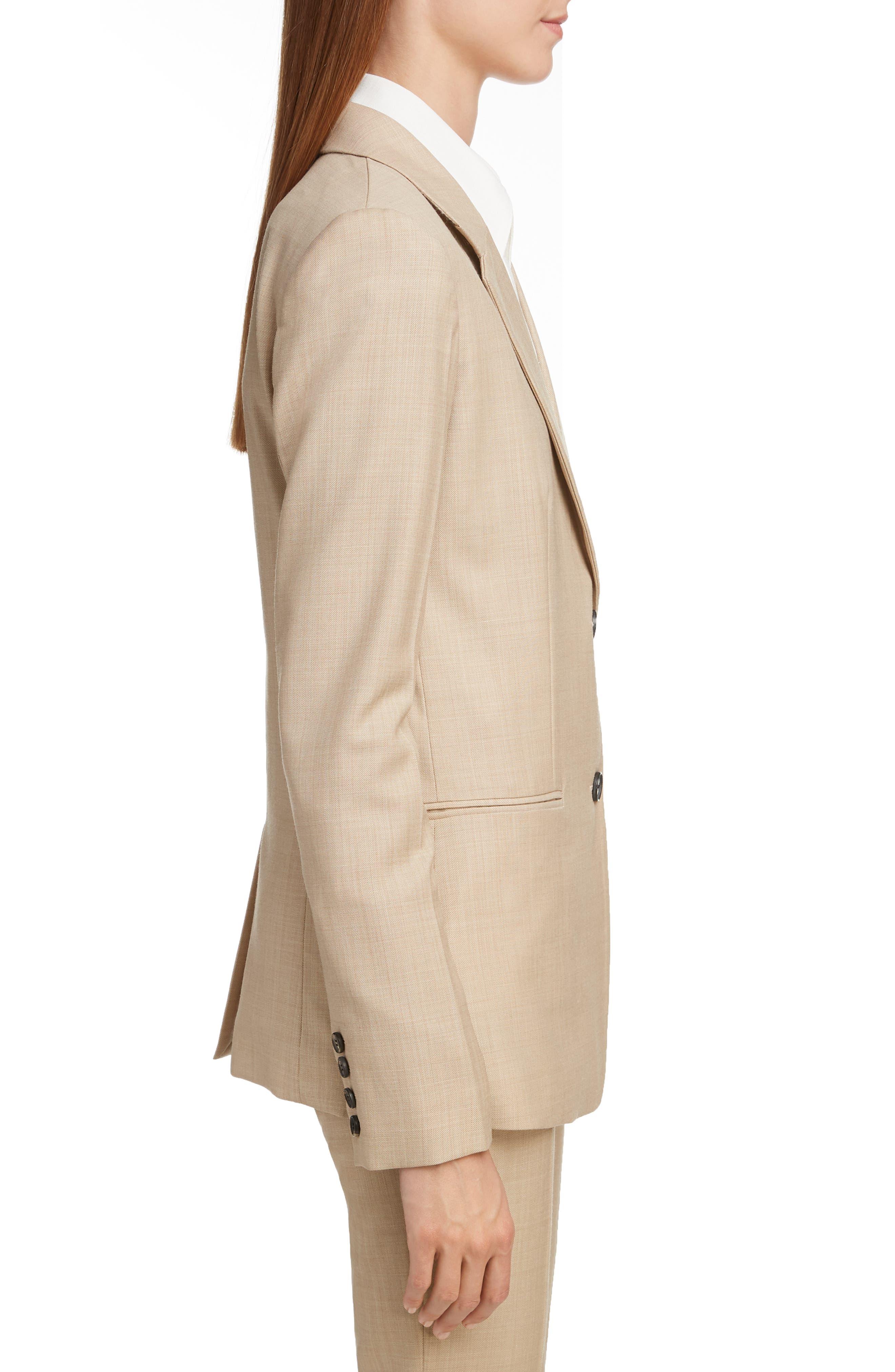 VICTORIA BECKHAM, Wool Jacket, Alternate thumbnail 3, color, LIGHT BEIGE-WHITE