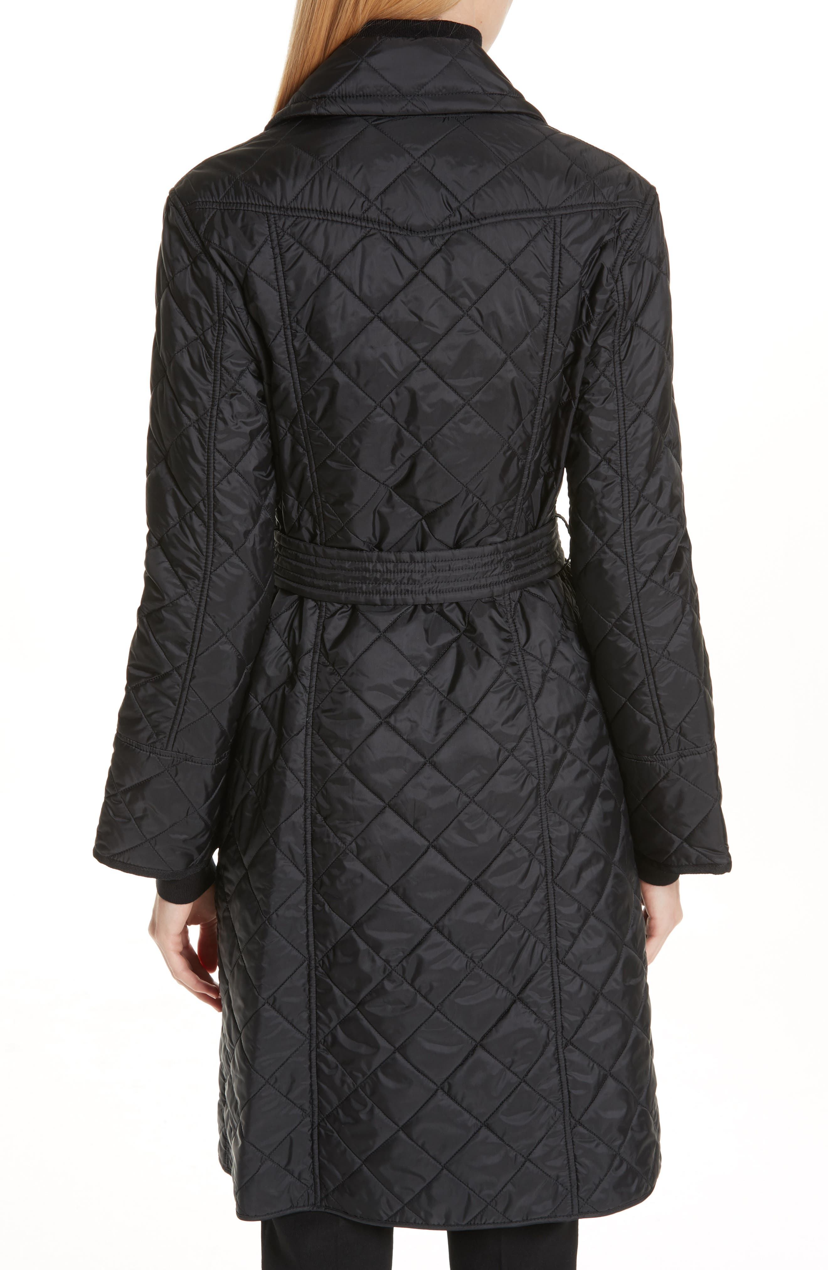 BURBERRY, Horberie Quilted Trench Coat, Alternate thumbnail 2, color, BLACK