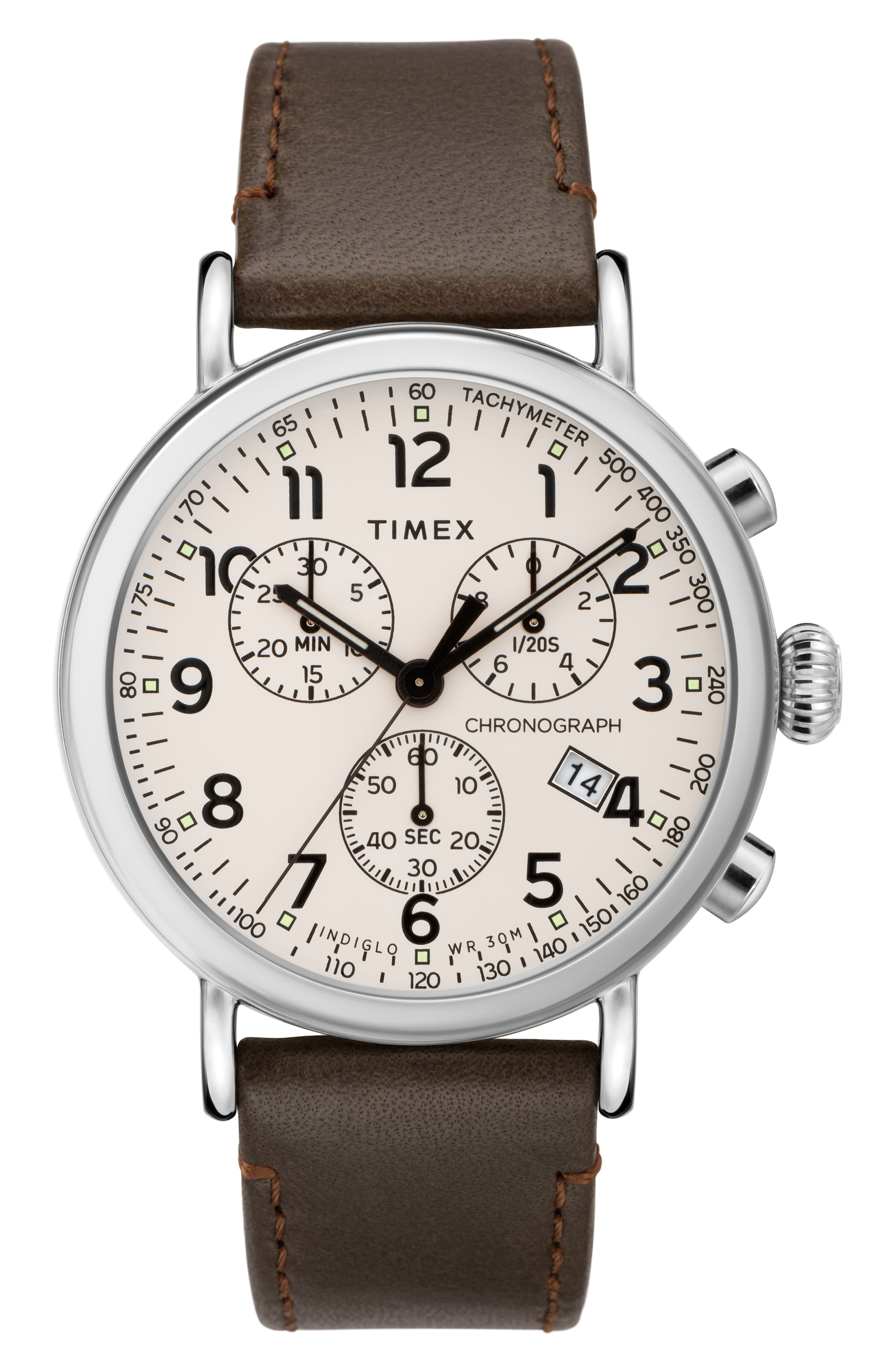 TIMEX<SUP>®</SUP>, Standard Chronograph Leather Strap Watch, 41mm, Main thumbnail 1, color, BROWN/ WHITE/ SILVER