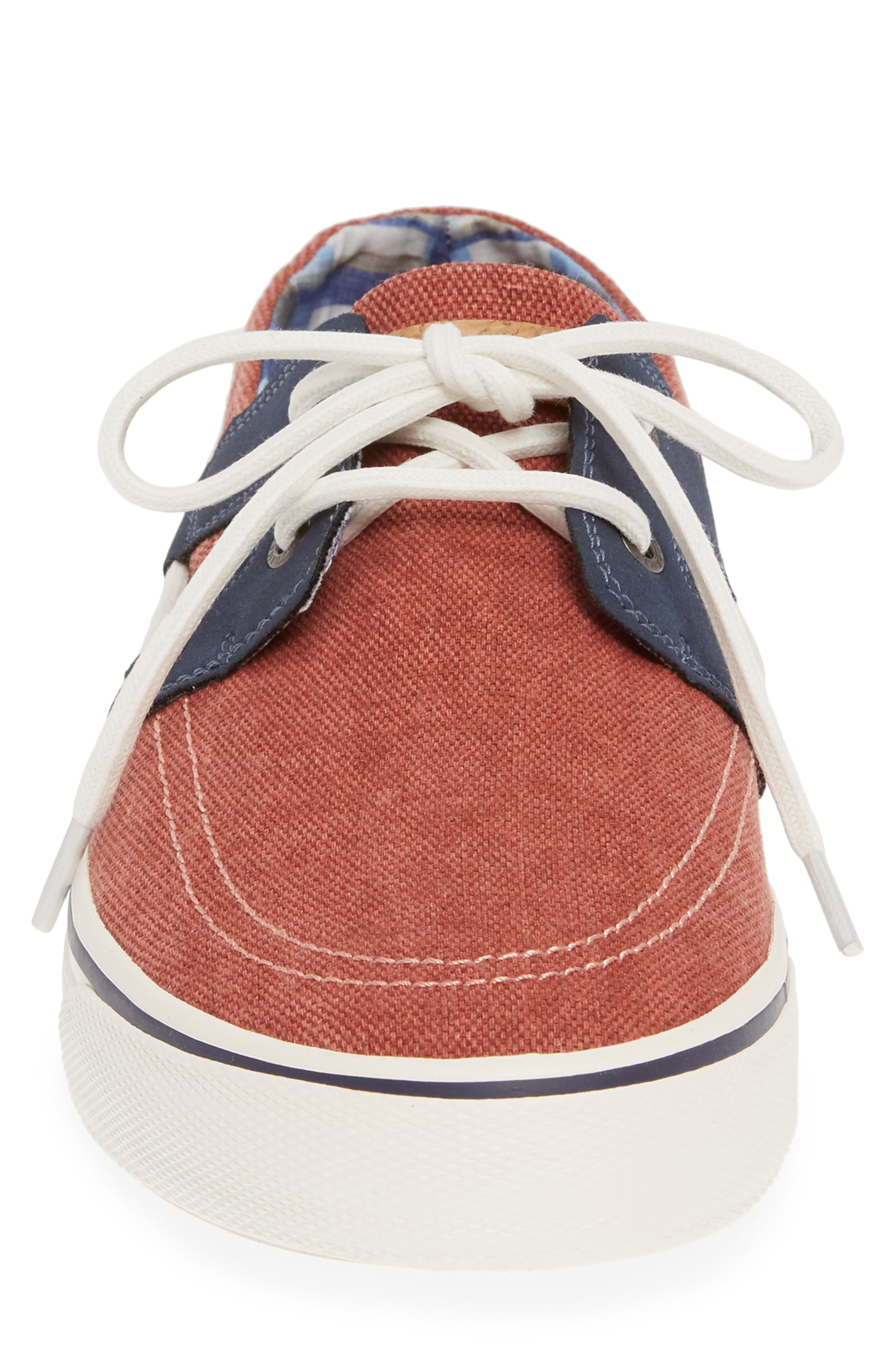 TOMMY BAHAMA, Stripe Breaker Sneaker, Alternate thumbnail 4, color, RED WASHED CANVAS/ LEATHER