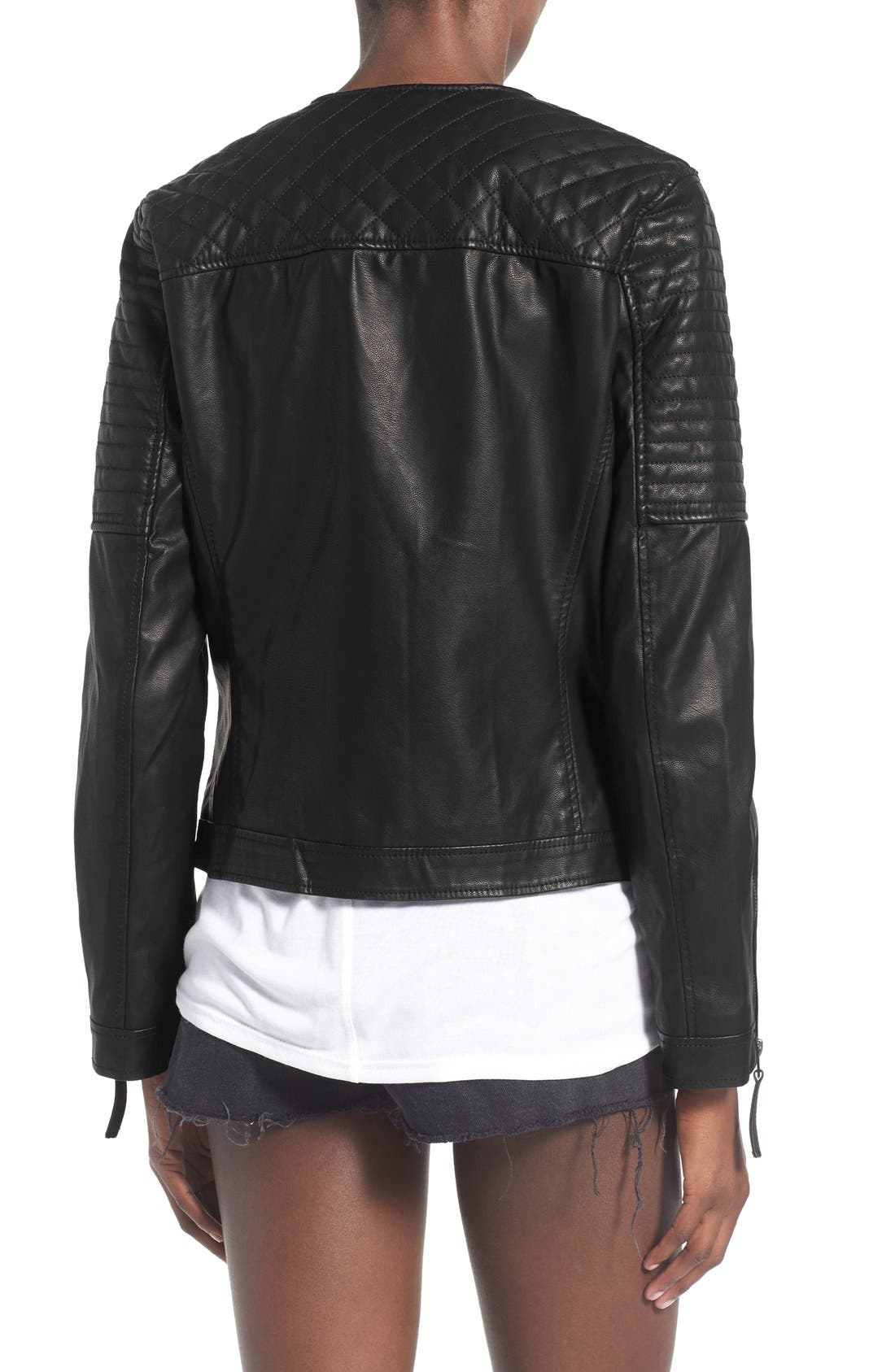 TOPSHOP, Faux Leather Biker Jacket, Alternate thumbnail 6, color, 001