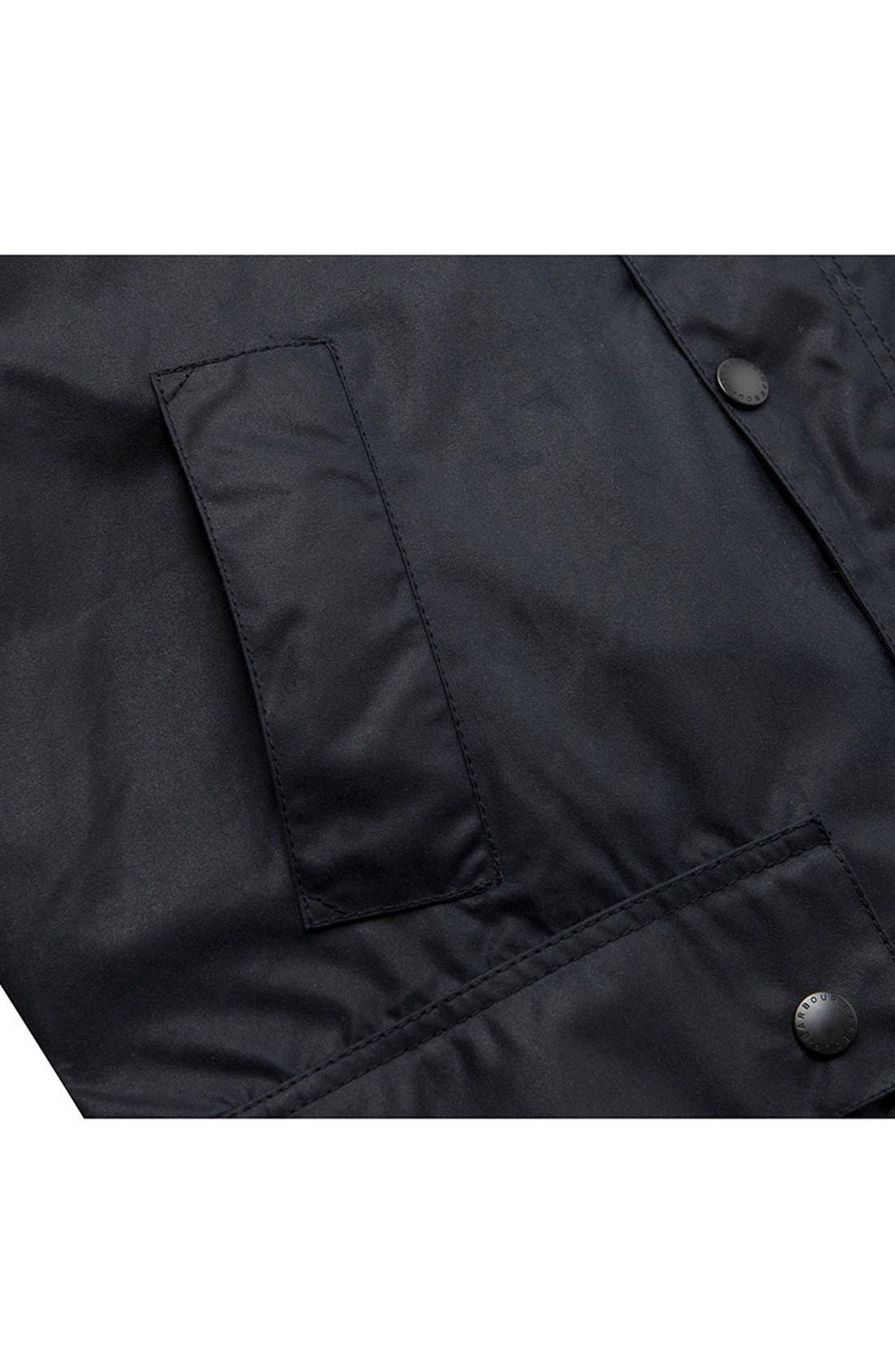 BARBOUR, 'Bedale' Regular Fit Waxed Cotton Jacket, Alternate thumbnail 6, color, NAVY