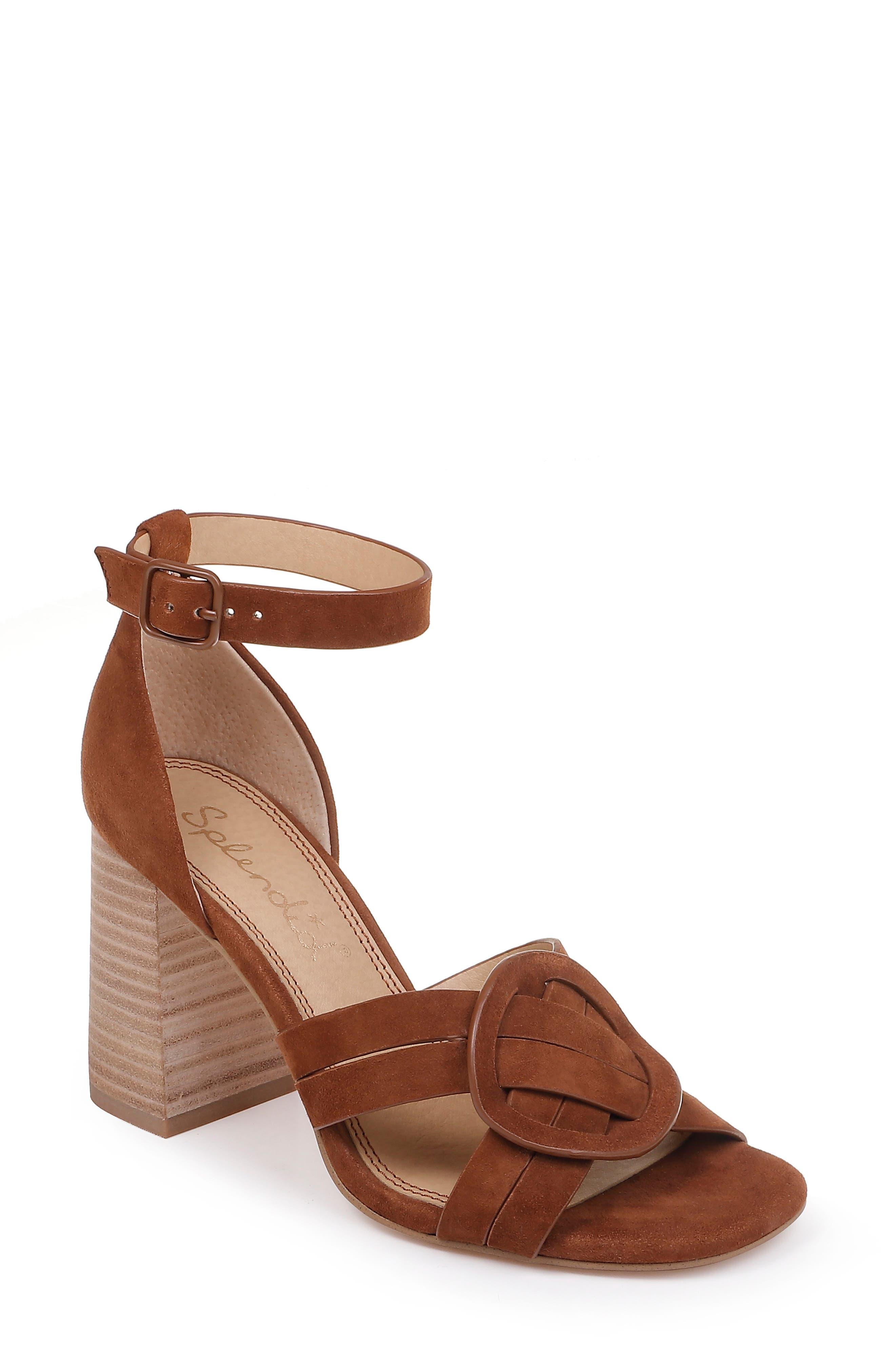 SPLENDID, Tallie Ankle Strap Sandal, Main thumbnail 1, color, CHESTNUT SUEDE
