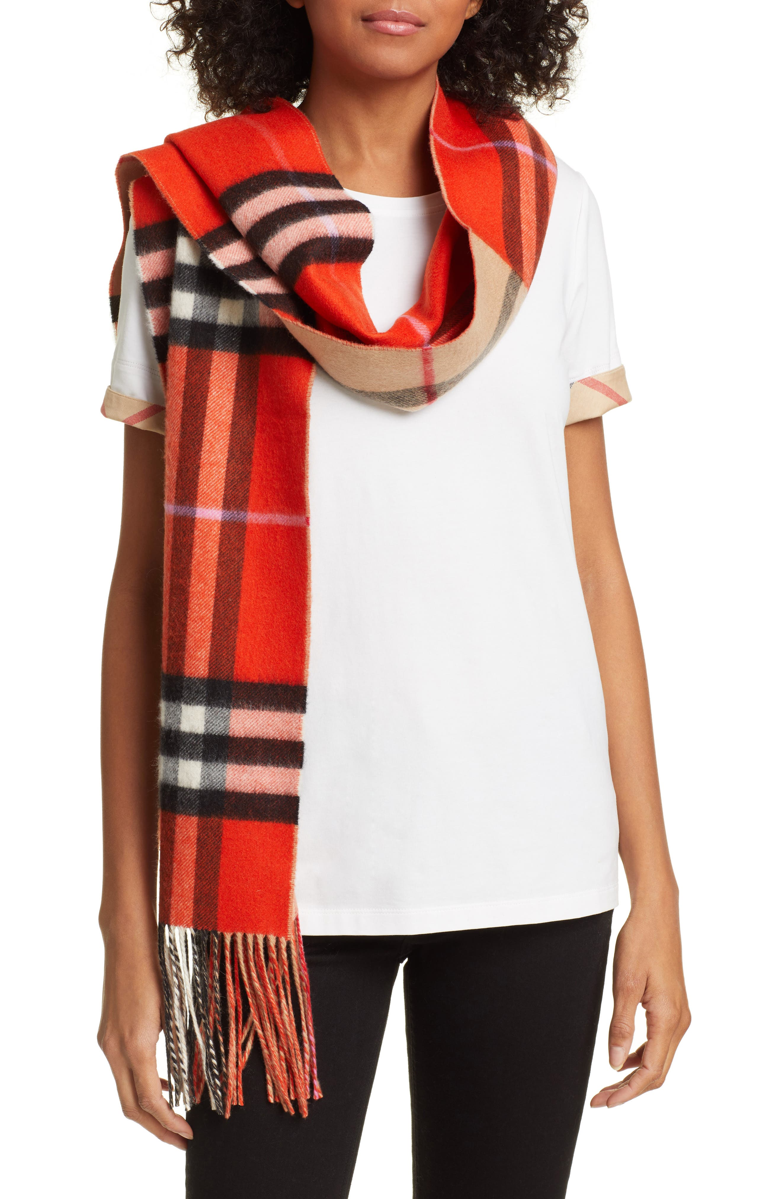 BURBERRY, Giant Check to Check Reversible Cashmere Scarf, Main thumbnail 1, color, BRIGHT ORANGE RED