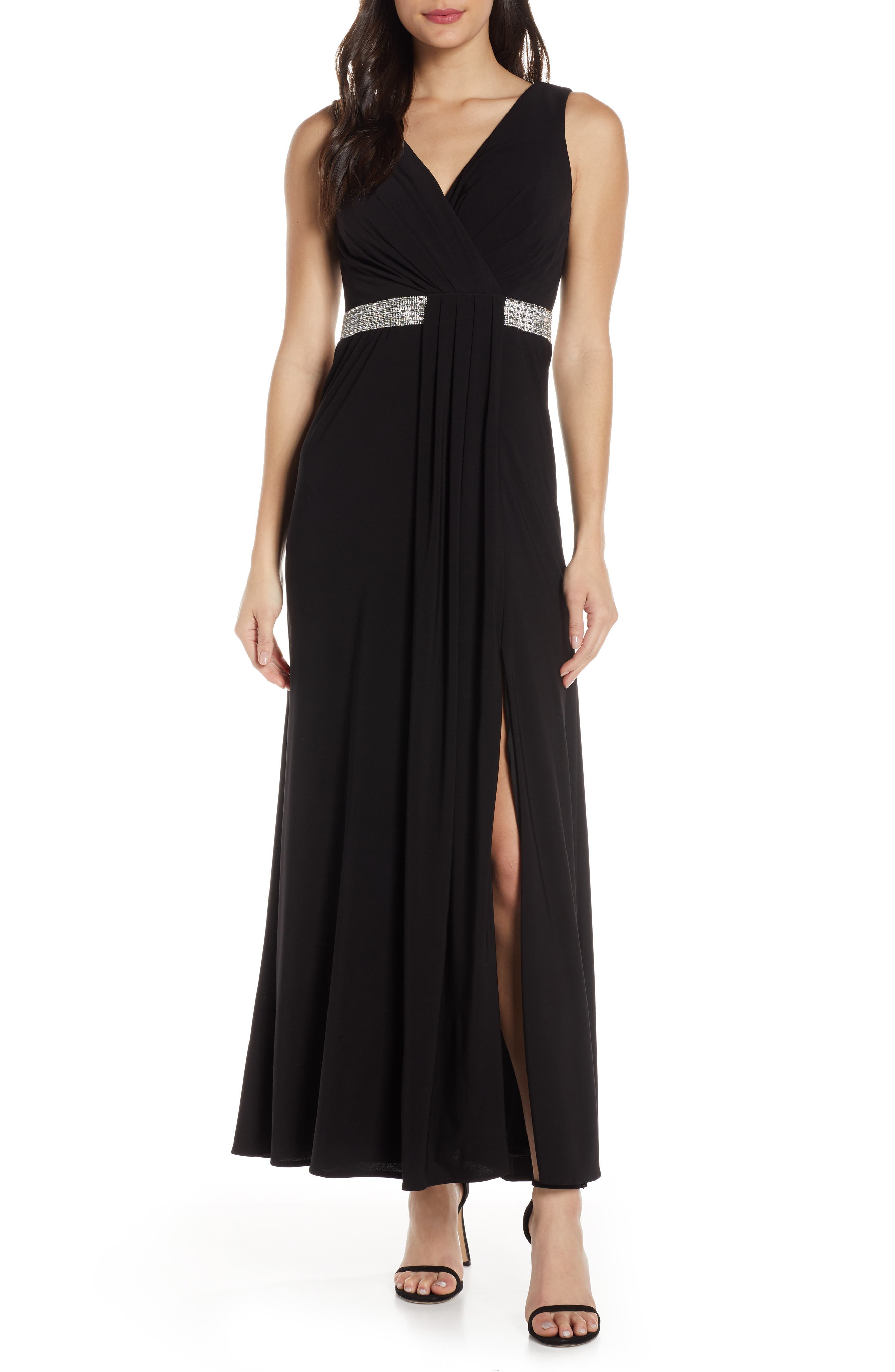Morgan & Co. Pleat Front Evening Gown, Black