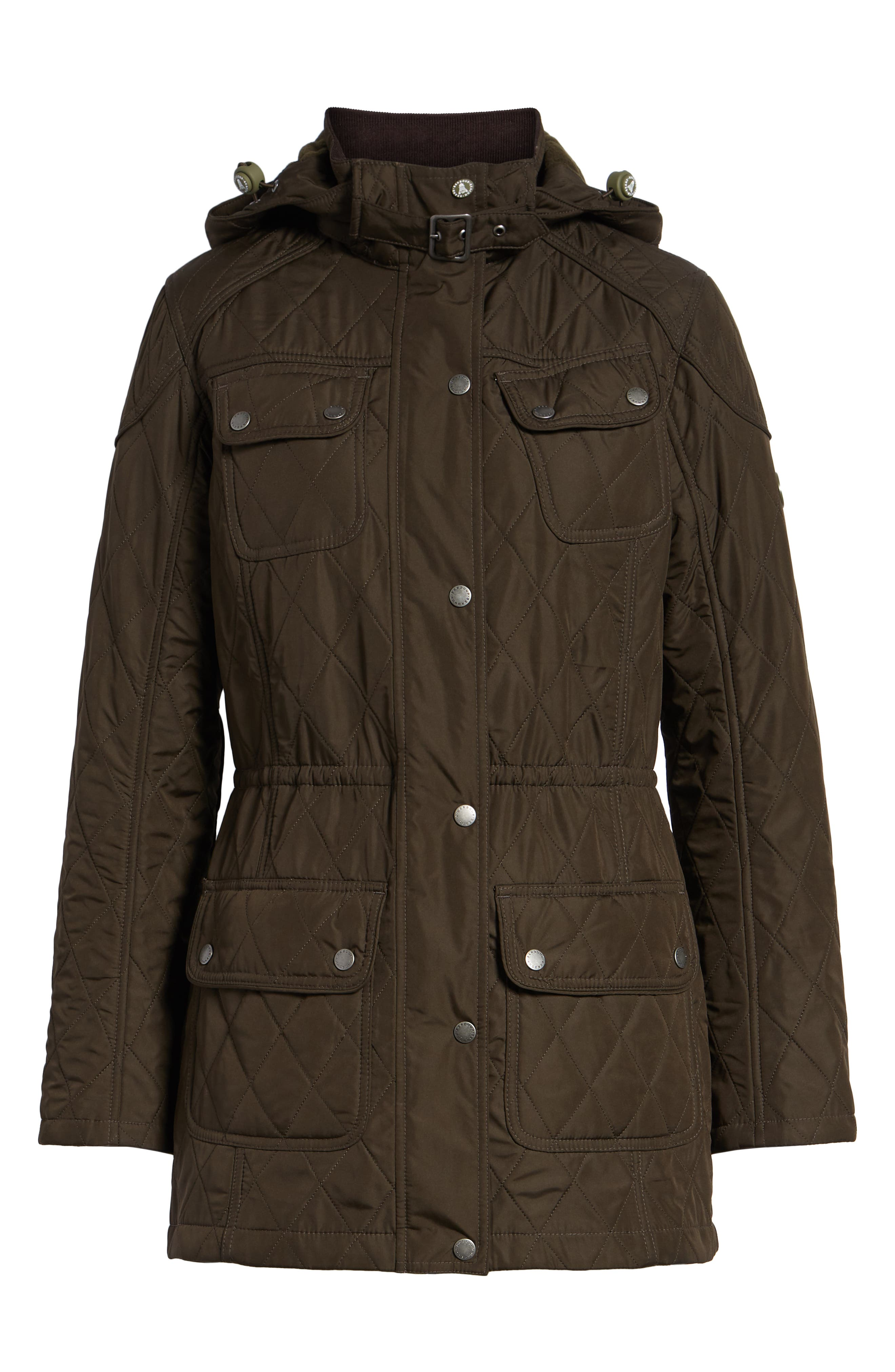 BARBOUR, 'Arrow' Quilted Anorak, Alternate thumbnail 6, color, 340
