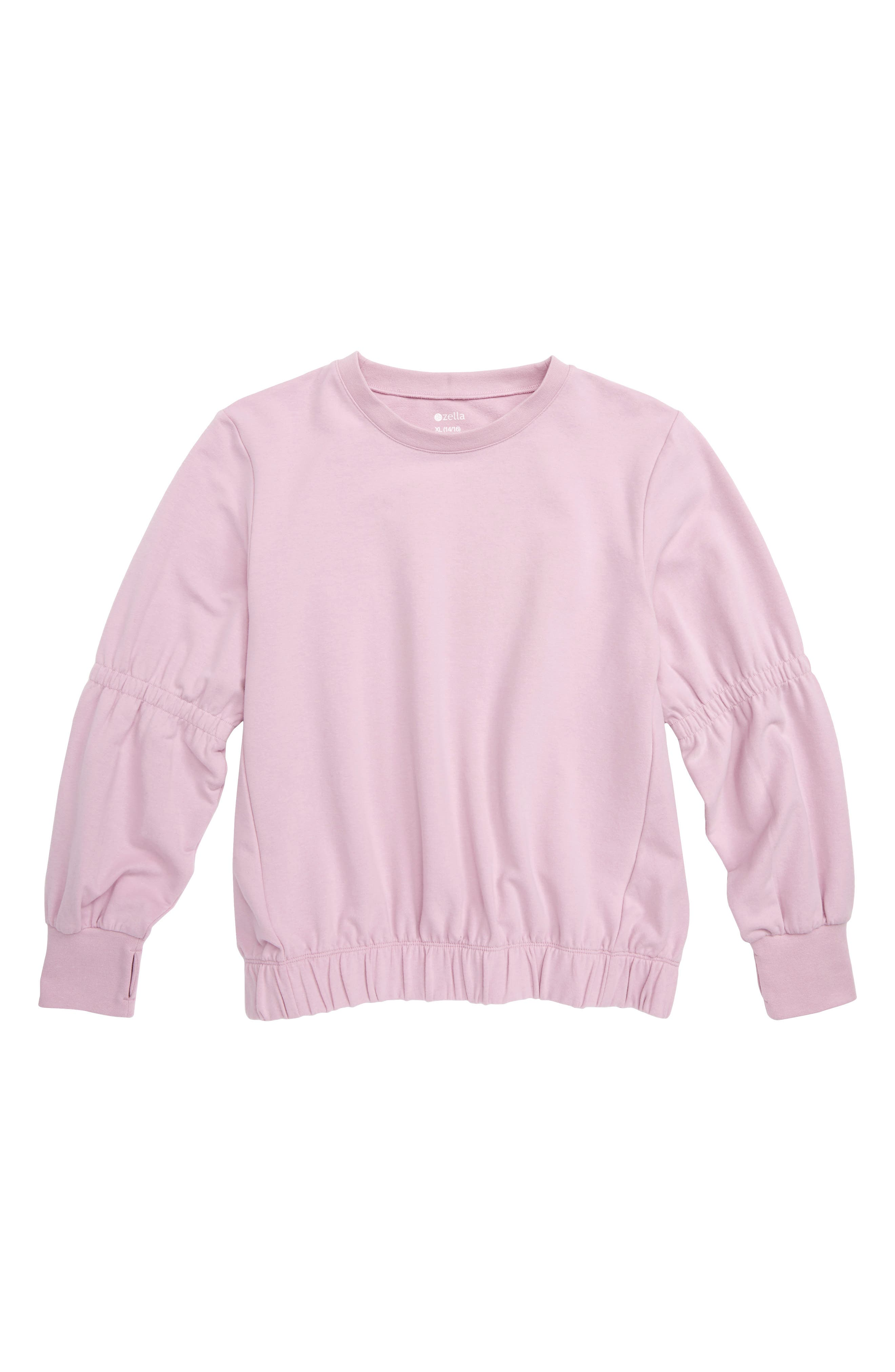 ZELLA GIRL Gathered Sleeve Pullover, Main, color, 530