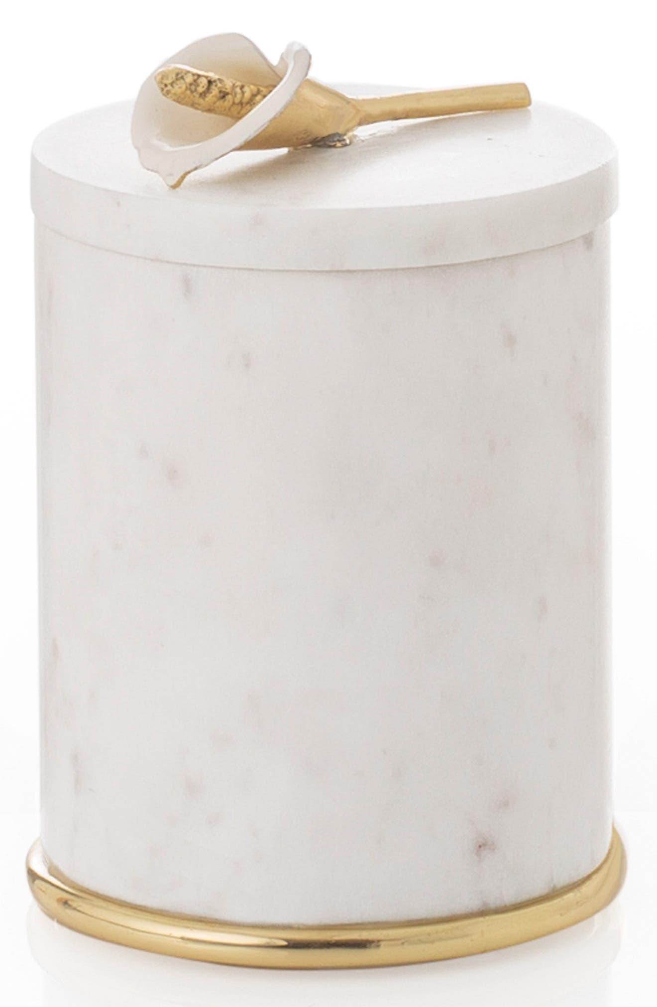 MICHAEL ARAM Calla Lily Round Marble Container, Main, color, WHITE