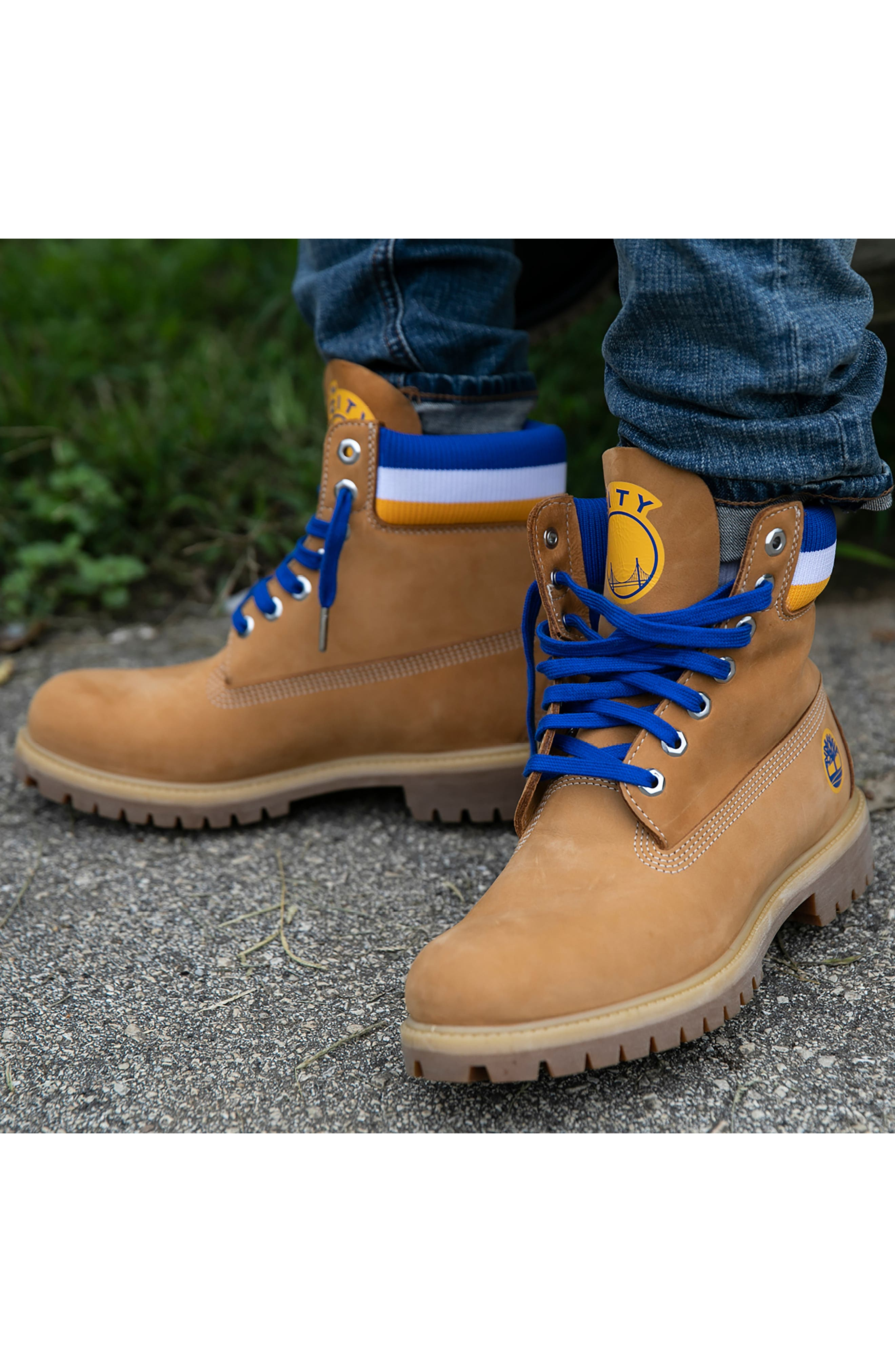 TIMBERLAND, Premium NBA Collection Boot, Alternate thumbnail 10, color, WHEAT NUBUCK/ GOLDEN STATE