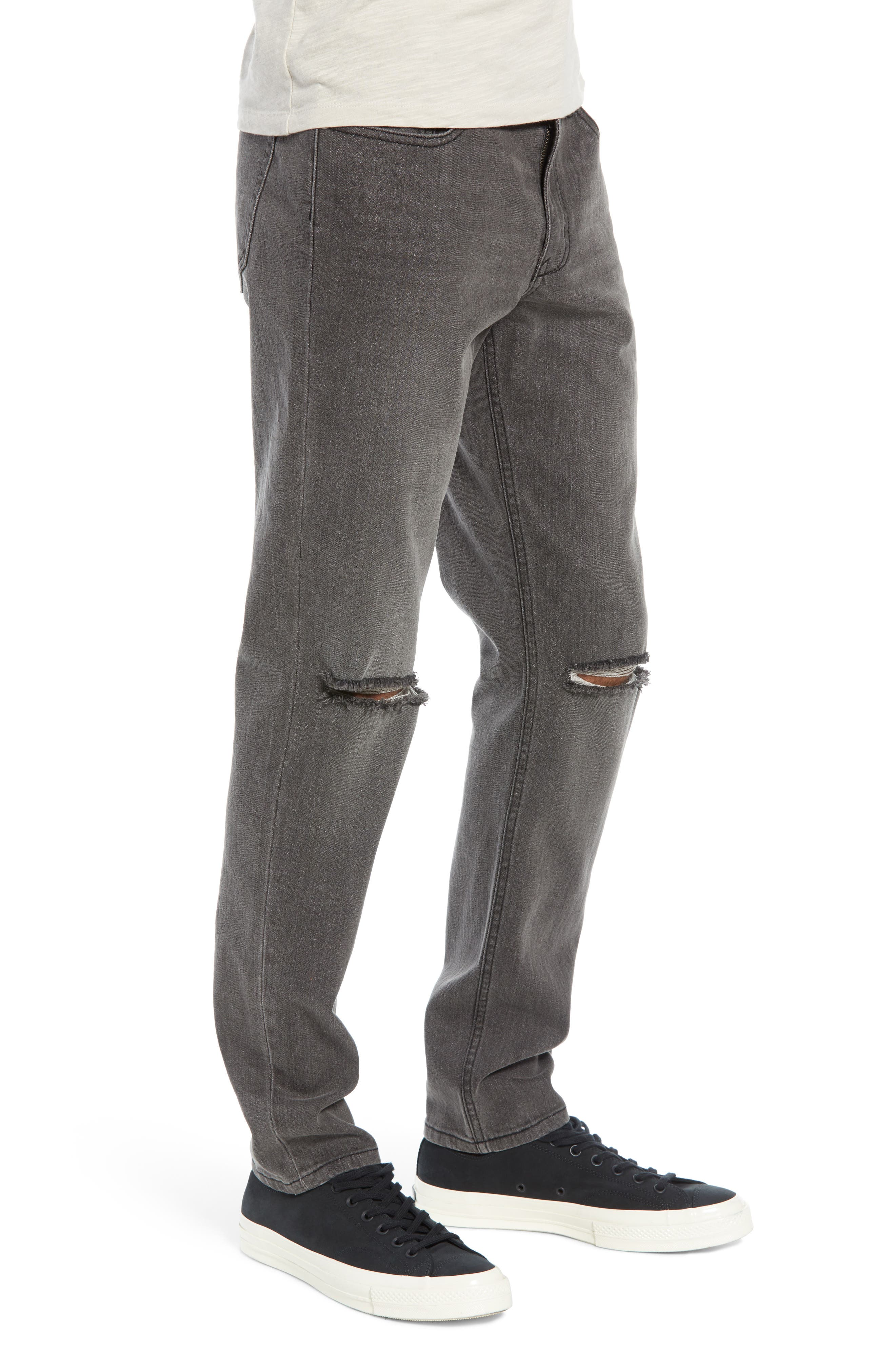 THE RAIL, Ripped Skinny Jeans, Alternate thumbnail 4, color, GREY CHRIS WASH