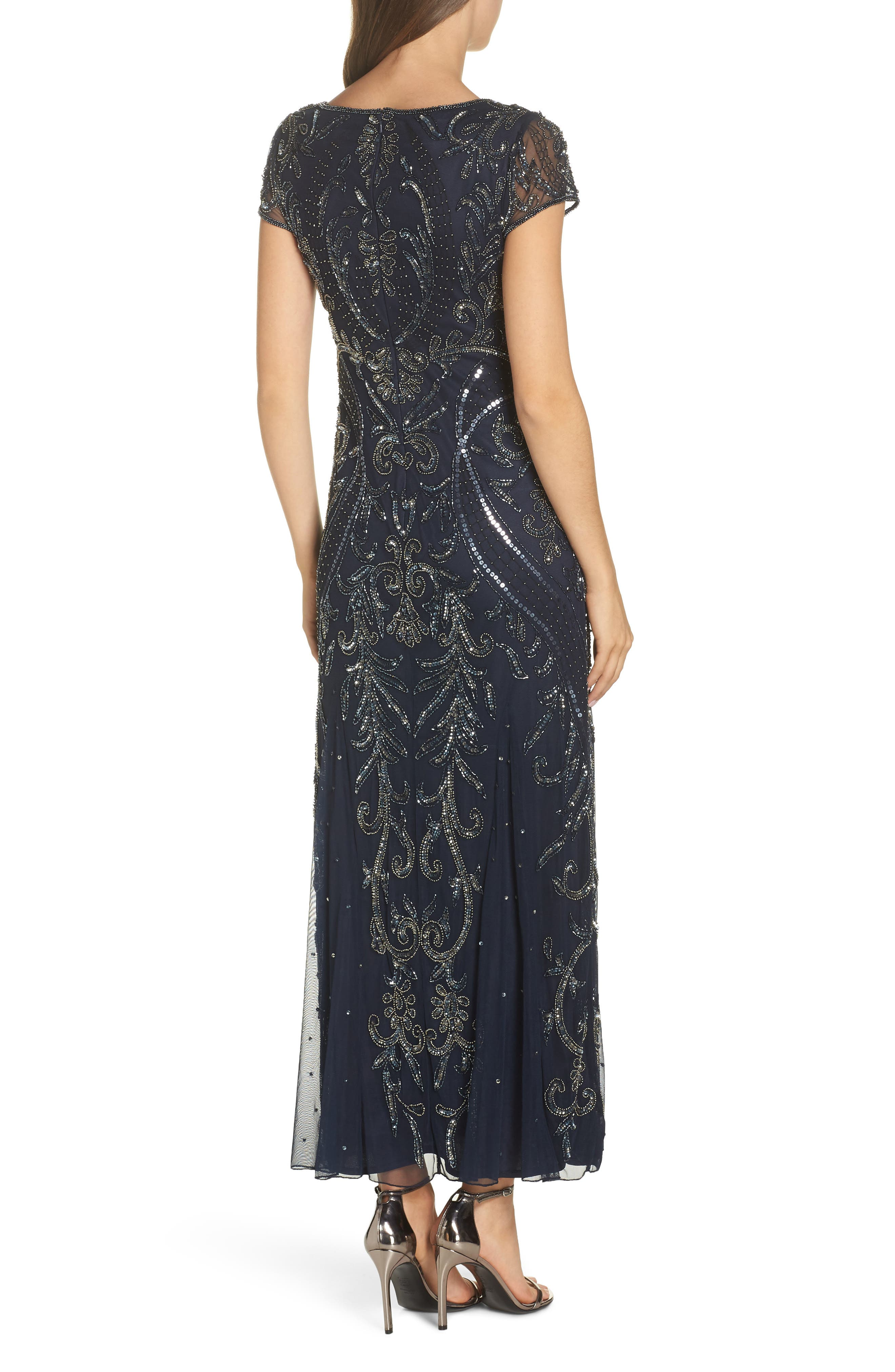 PISARRO NIGHTS, Embellished Mesh Gown, Alternate thumbnail 2, color, NAVY