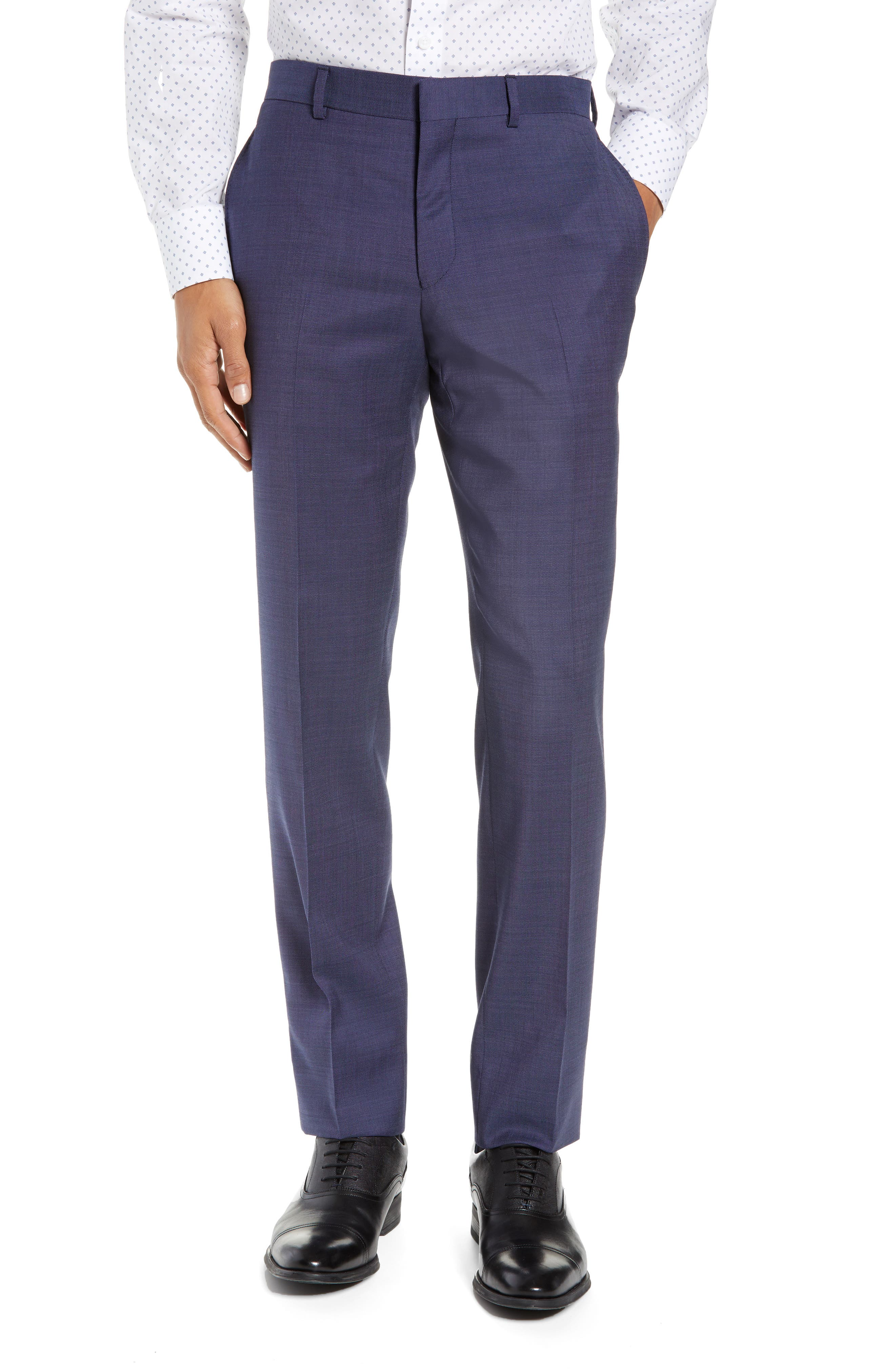 TED BAKER LONDON, Roger Slim Fit Solid Wool Suit, Alternate thumbnail 6, color, BLUE