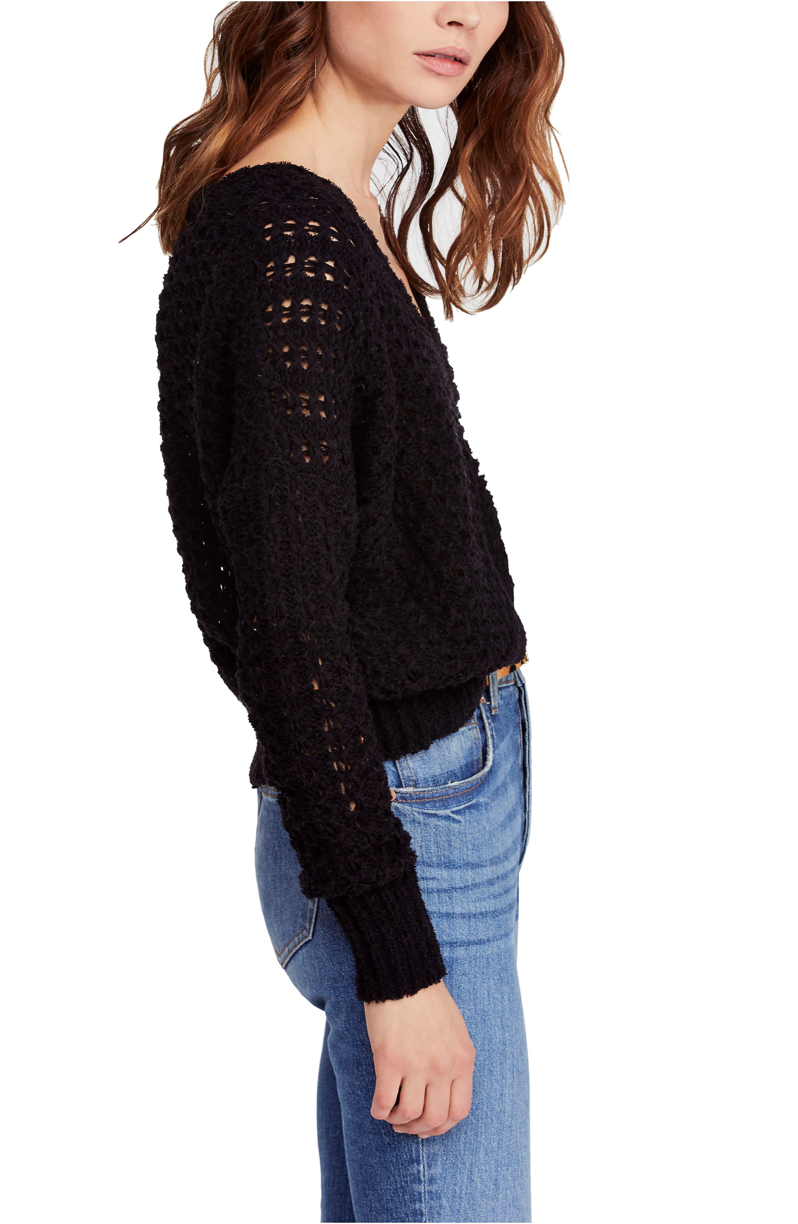 FREE PEOPLE, Best of You Sweater, Alternate thumbnail 3, color, BLACK