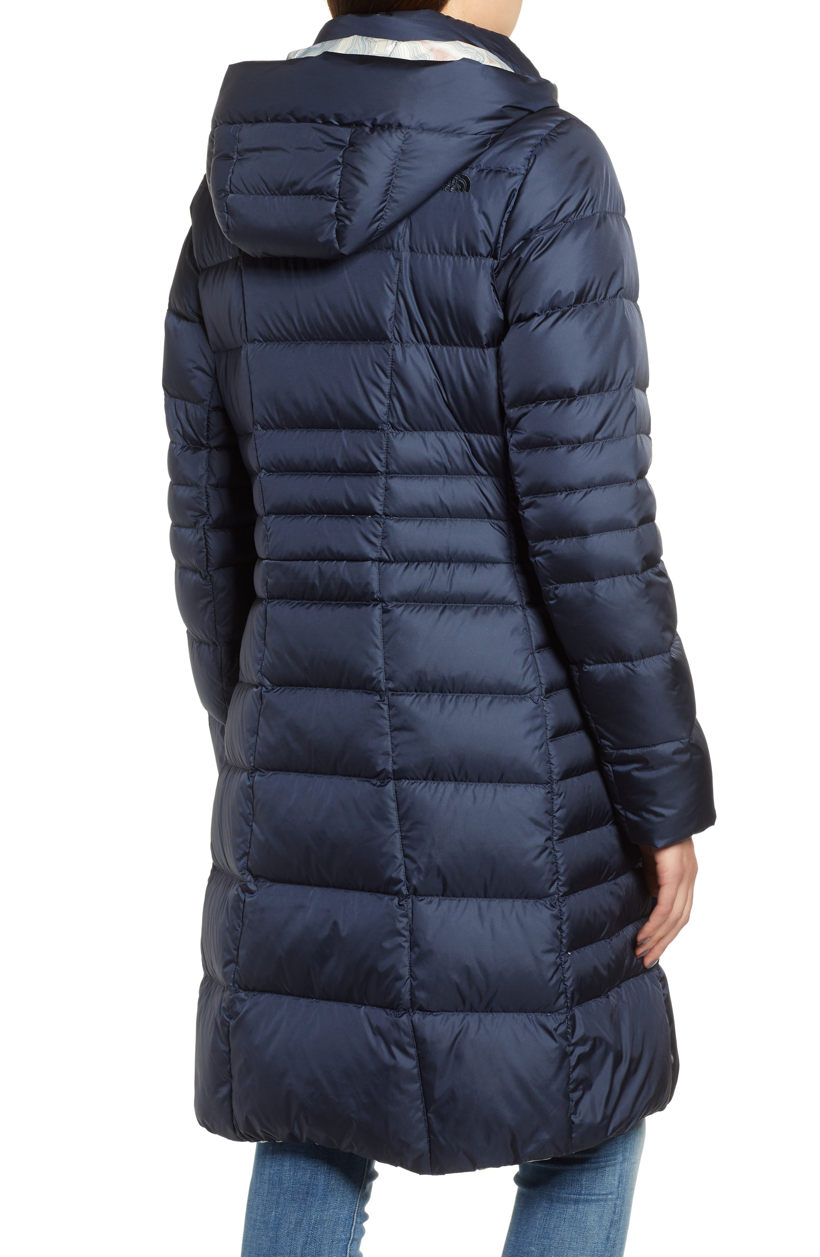 THE NORTH FACE, Metropolis II Hooded Water Resistant Down Parka, Alternate thumbnail 2, color, URBAN NAVY/ MULTI TOPO PRINT