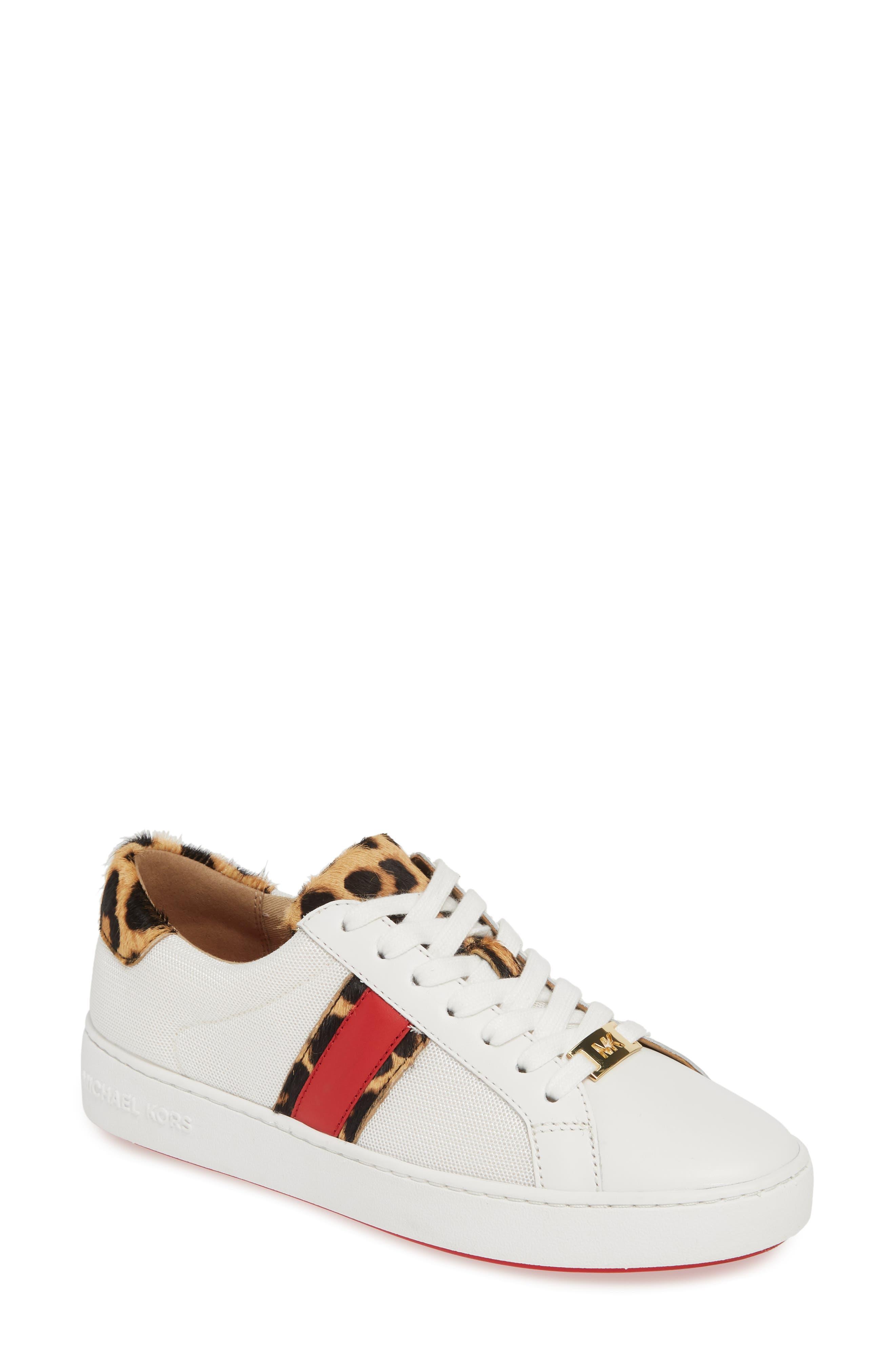 MICHAEL MICHAEL KORS, Irving Stripe Sneaker, Main thumbnail 1, color, OPTIC WHITE/ NATURAL