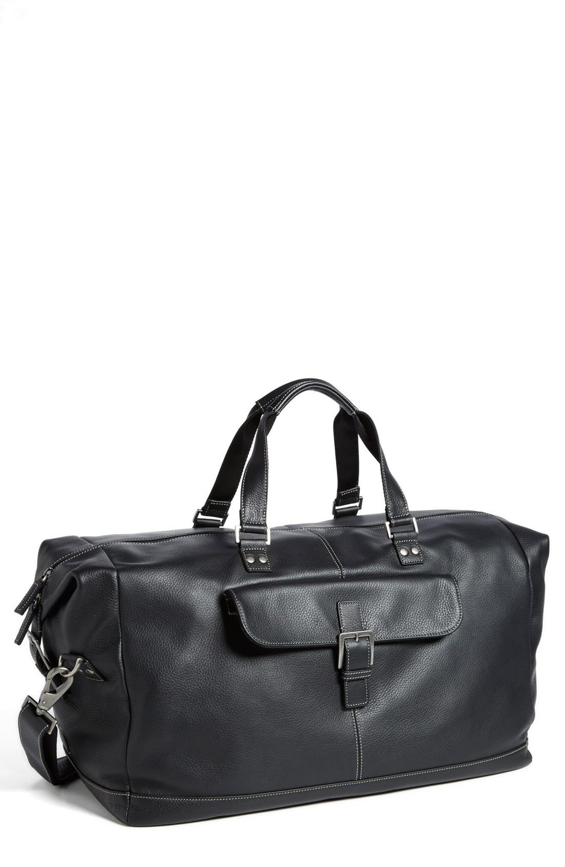 BOCONI Tyler Leather Cargo Duffle Bag, Main, color, BLACK/ KHAKI