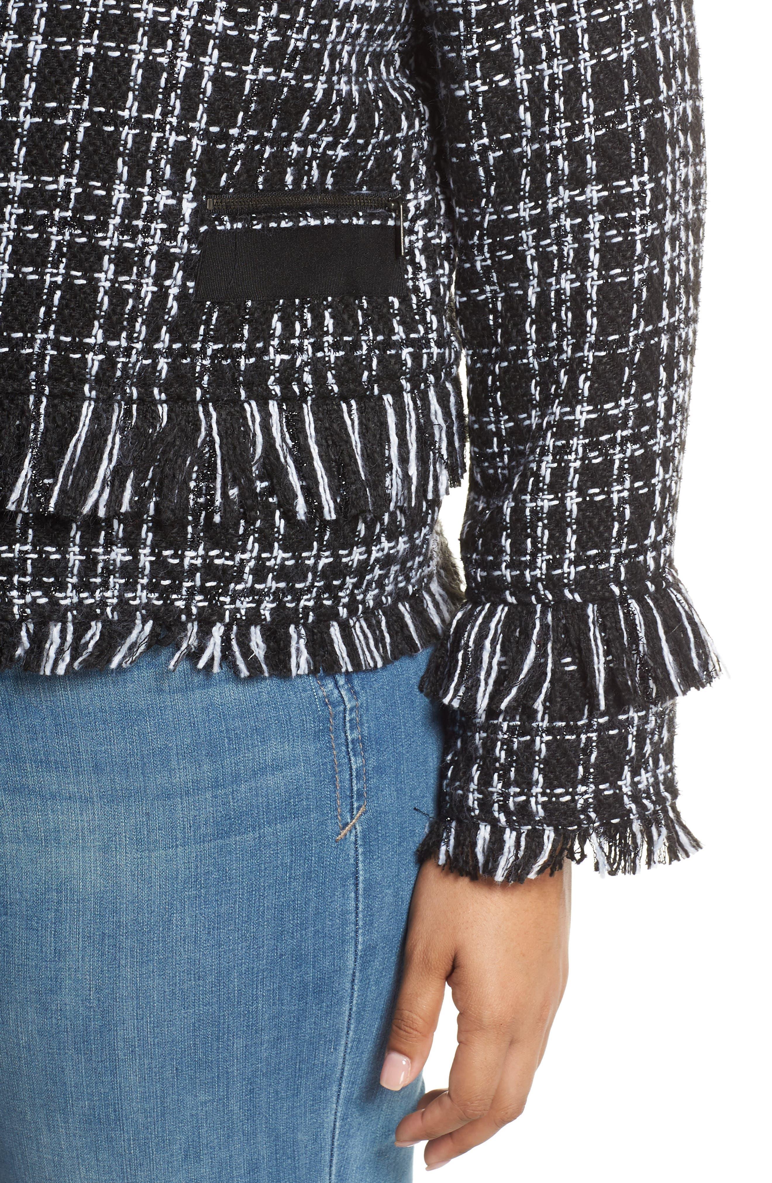 HALOGEN<SUP>®</SUP>, Tweed Fringe Jacket, Alternate thumbnail 5, color, BLACK- WHITE TWEED