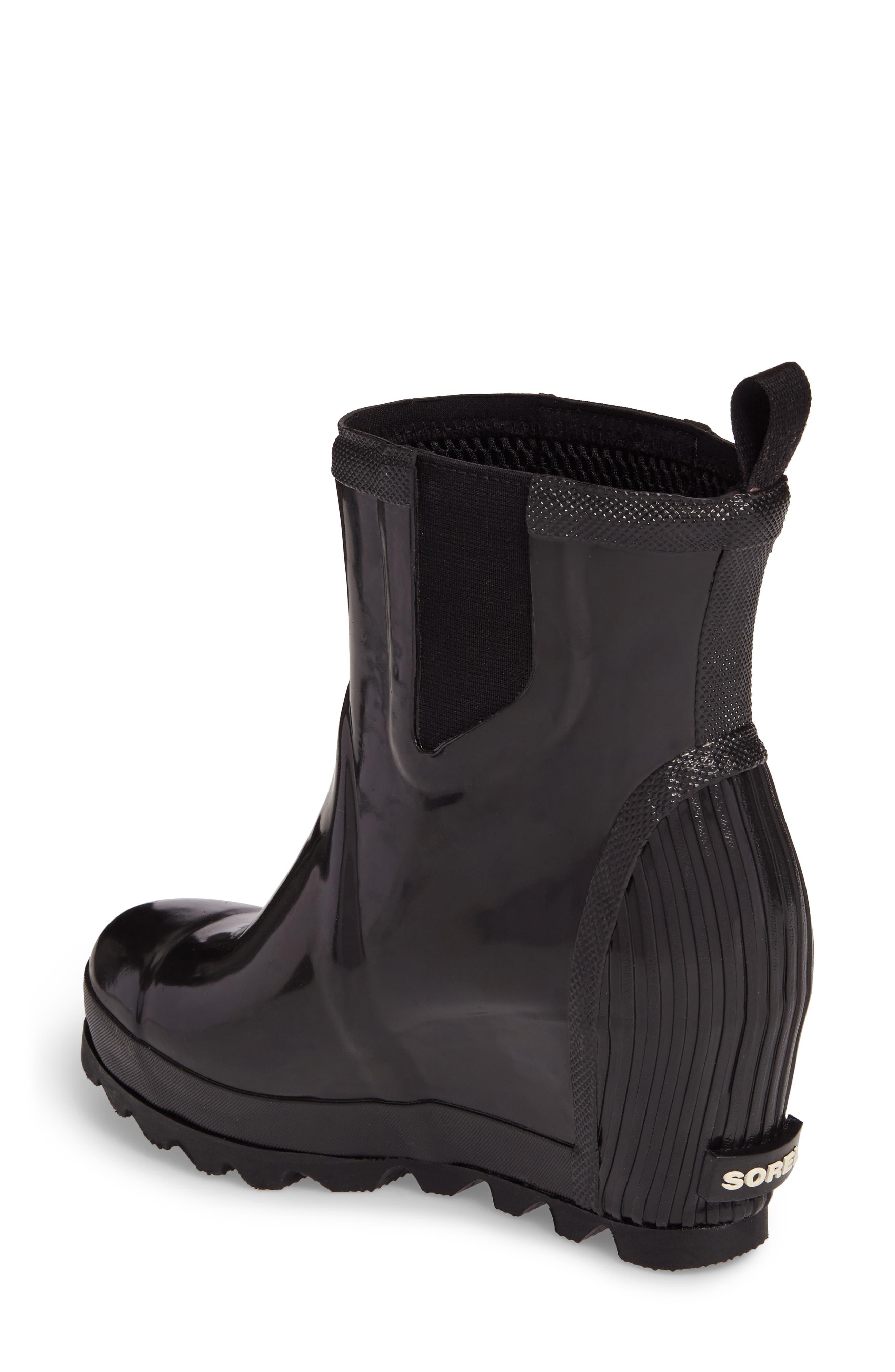 SOREL, Joan Glossy Wedge Waterproof Rain Boot, Alternate thumbnail 2, color, BLACK/ SEA SALT