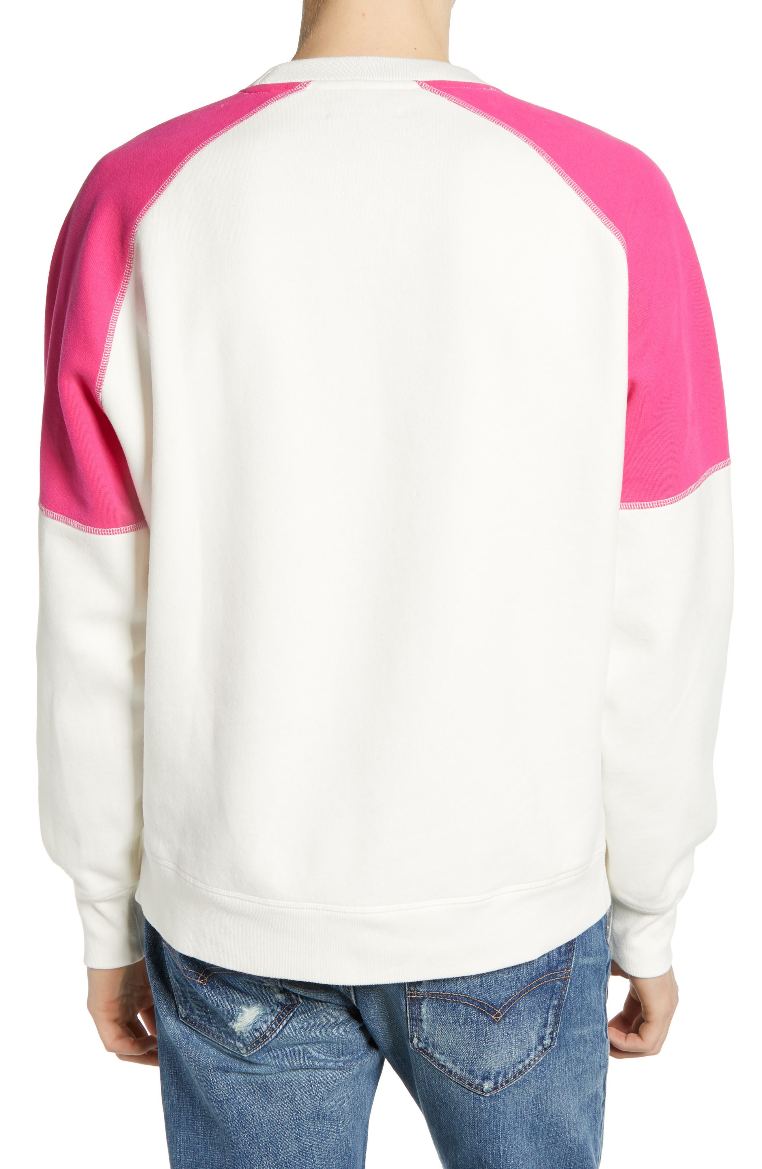 LEVI'S<SUP>®</SUP> MADE & CRAFTED<SUP>™</SUP>, Regular Fit Raglan Sweatshirt, Alternate thumbnail 2, color, WHITE ALYSSUM