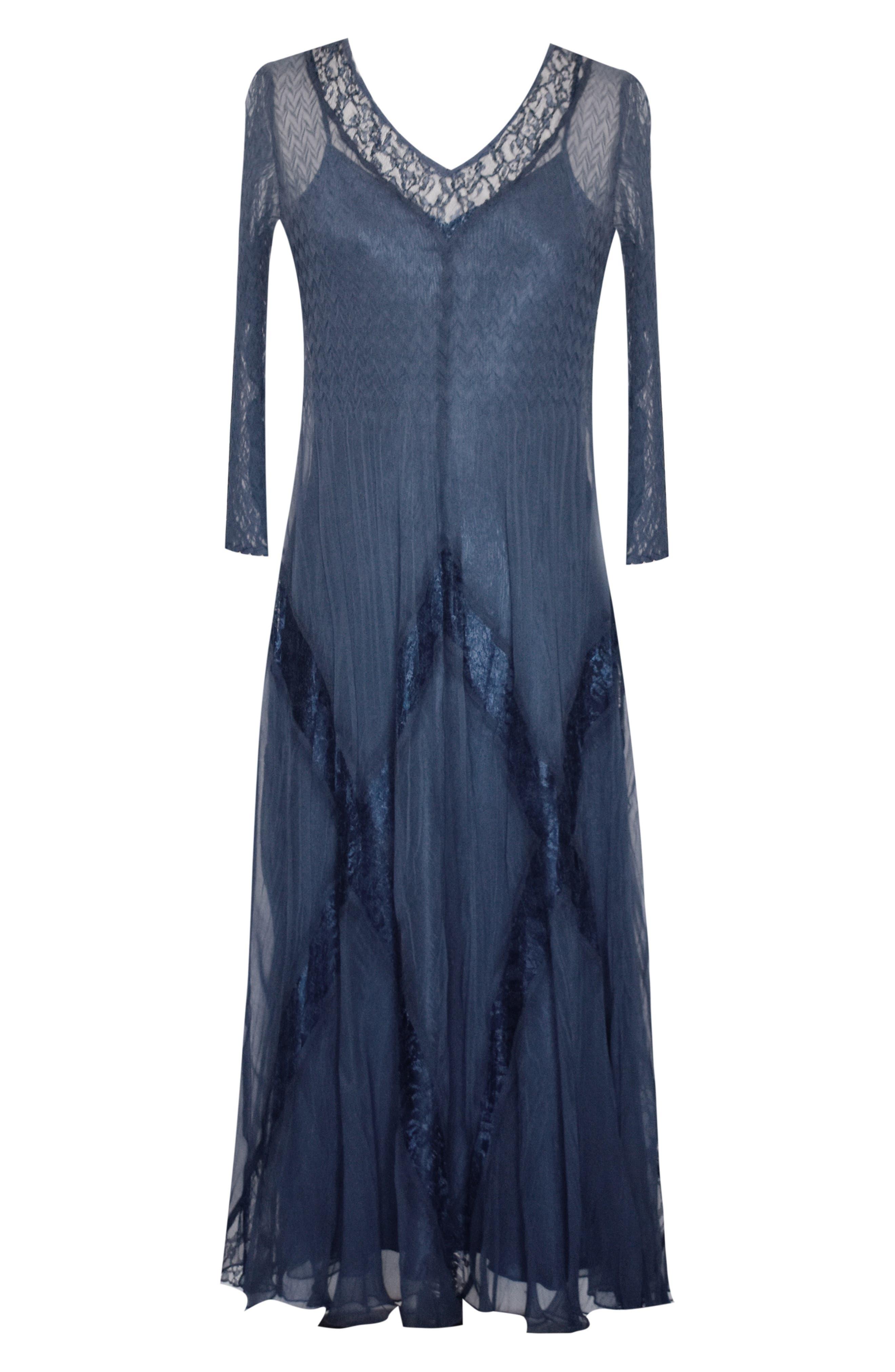 KOMAROV, Beaded Chiffon A-Line Dress, Alternate thumbnail 5, color, 400