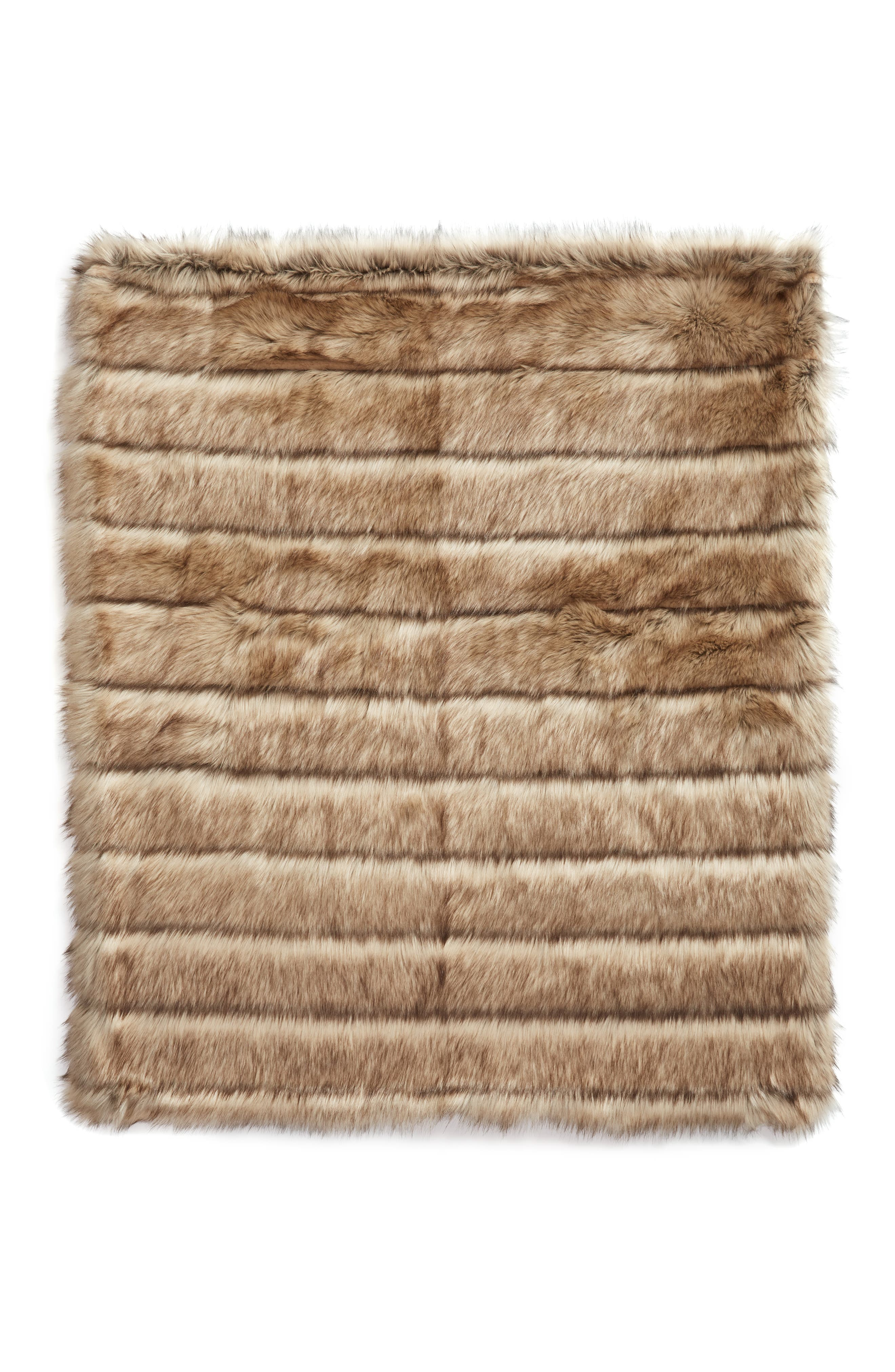 NORDSTROM AT HOME, Luxe Faux Fur Stripe Throw Blanket, Alternate thumbnail 2, color, NATURAL MULTI