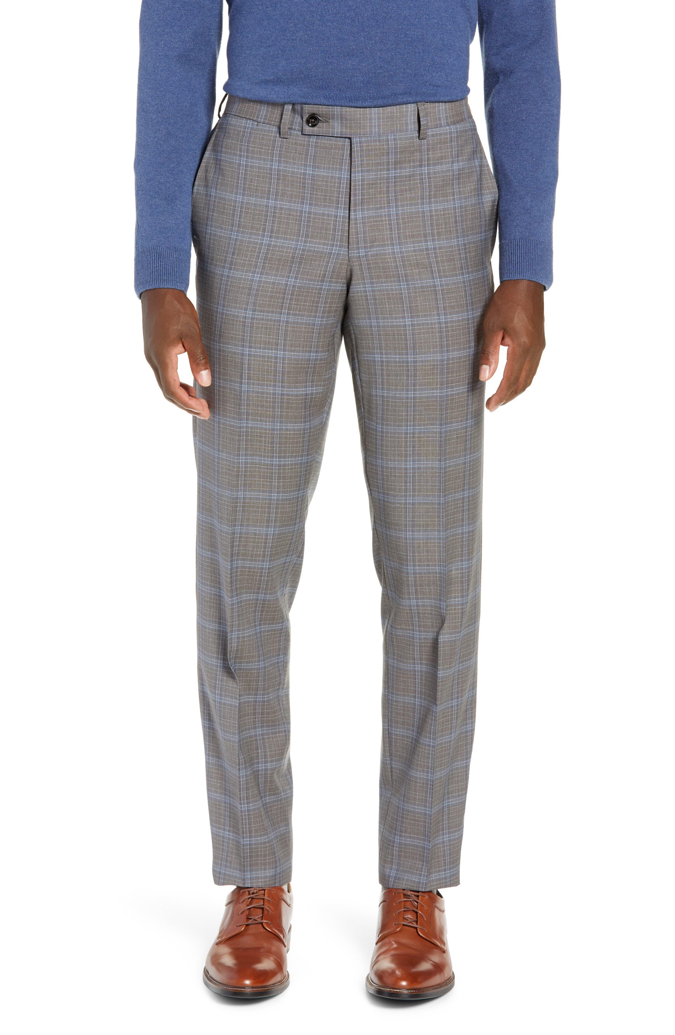 TED BAKER LONDON, Jay Trim Fit Plaid Wool Suit, Alternate thumbnail 6, color, LIGHT GREY