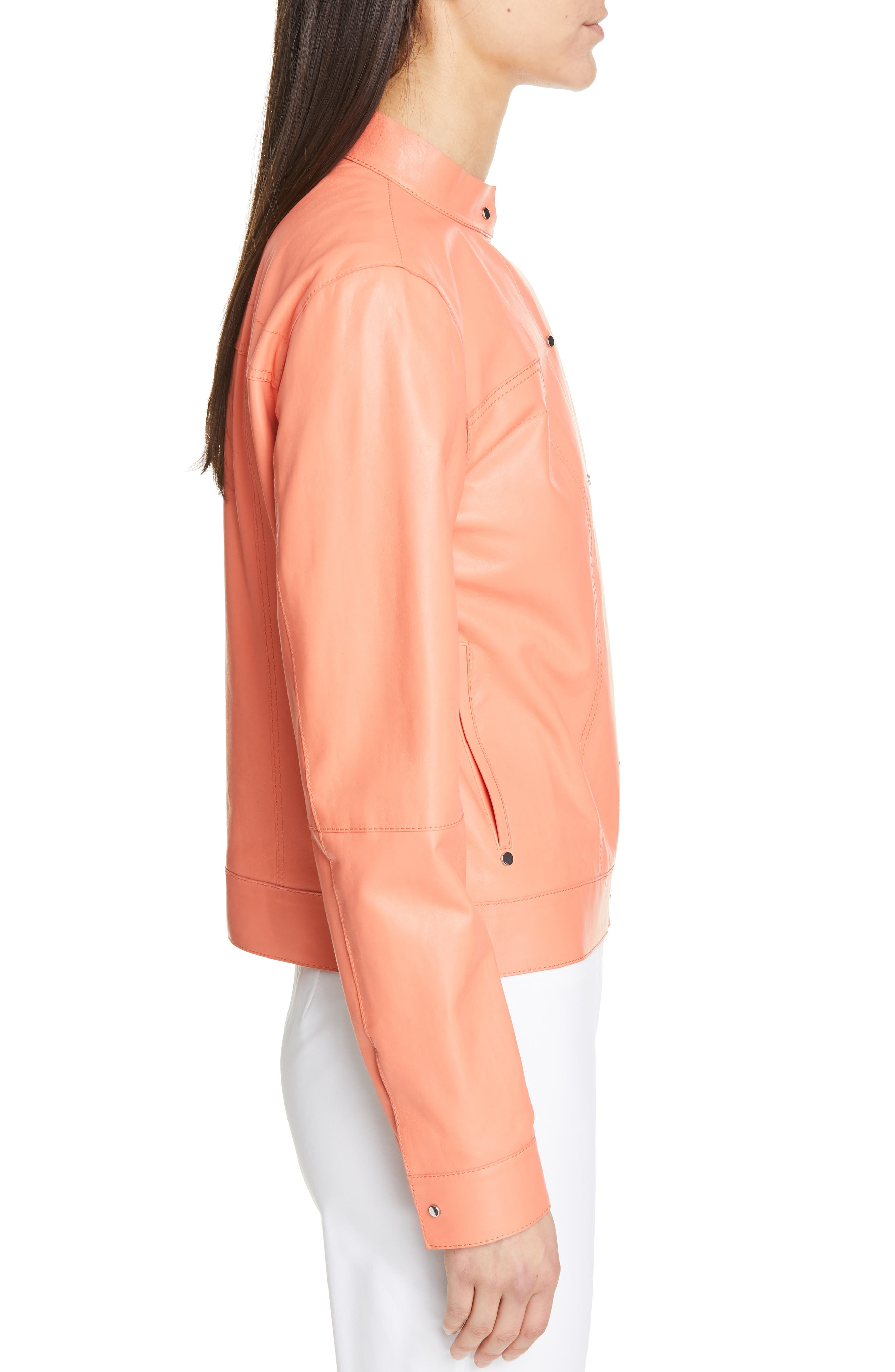 LAFAYETTE 148 NEW YORK, Galicia Leather Jacket, Alternate thumbnail 3, color, PEACH ROSE