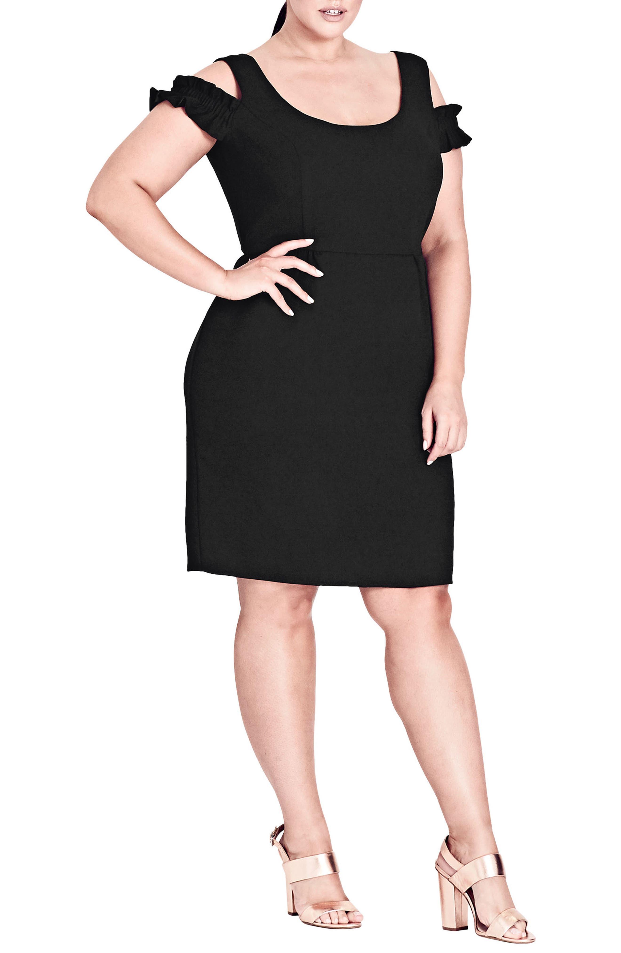 Plus Size City Chic Cute Frill Sheath Dress, Black