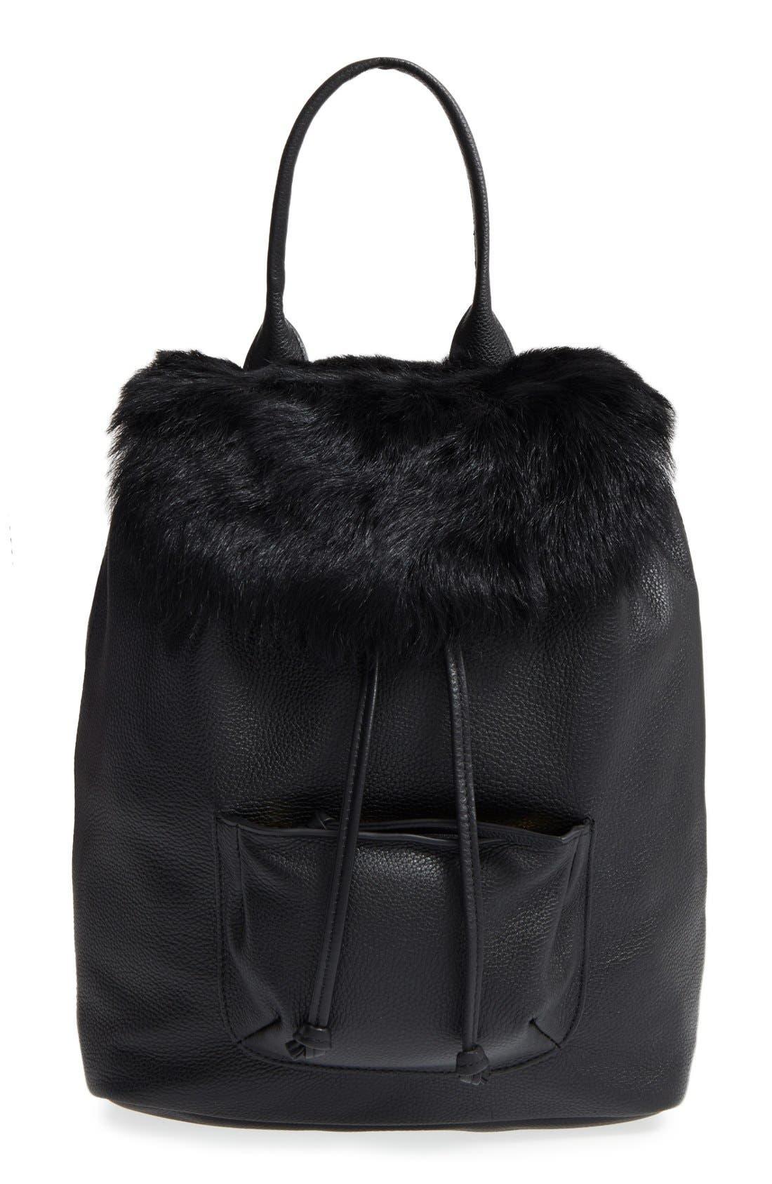 ELIZABETH AND JAMES 'Langley' Leather & Genuine Sheep Fur Backpack, Main, color, 001