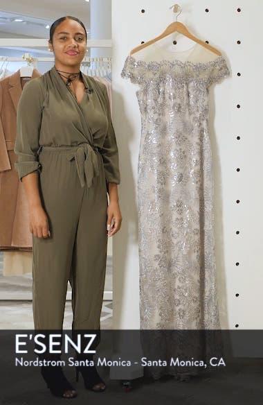 Illusion Neck Sequin Lace Gown, sales video thumbnail