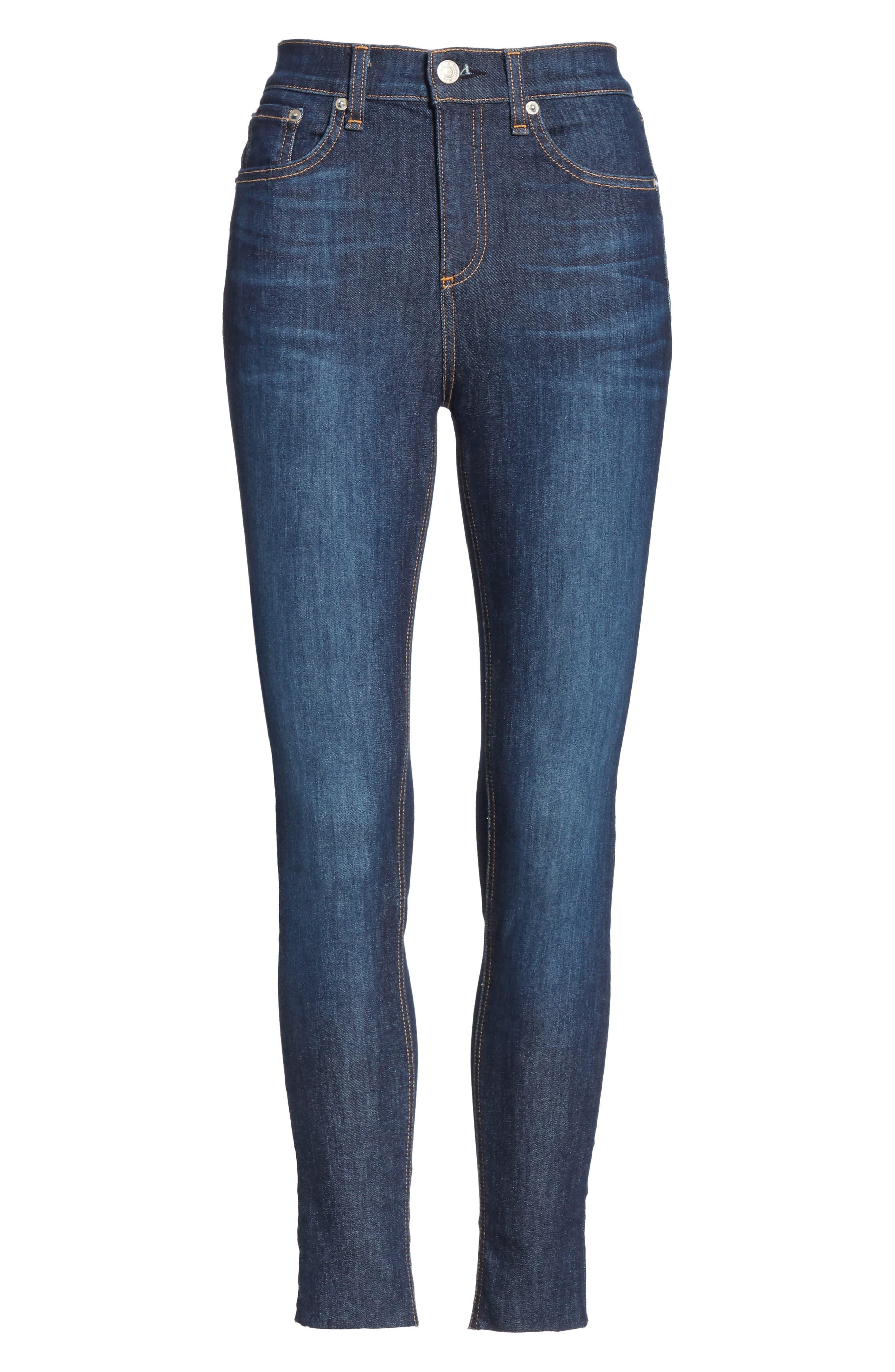 RAG & BONE, High Waist Skinny Ankle Jeans, Alternate thumbnail 7, color, 402