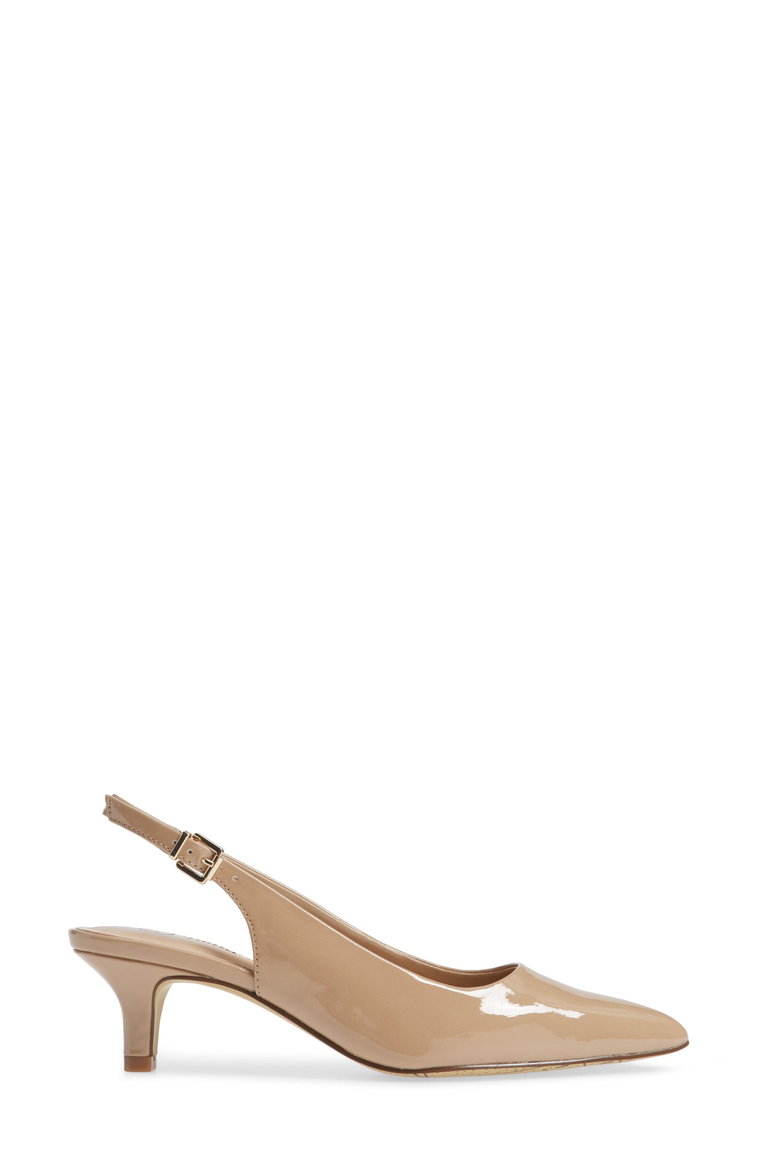BELLA VITA, Scarlette Slingback Pump, Alternate thumbnail 3, color, NUDE PATENT
