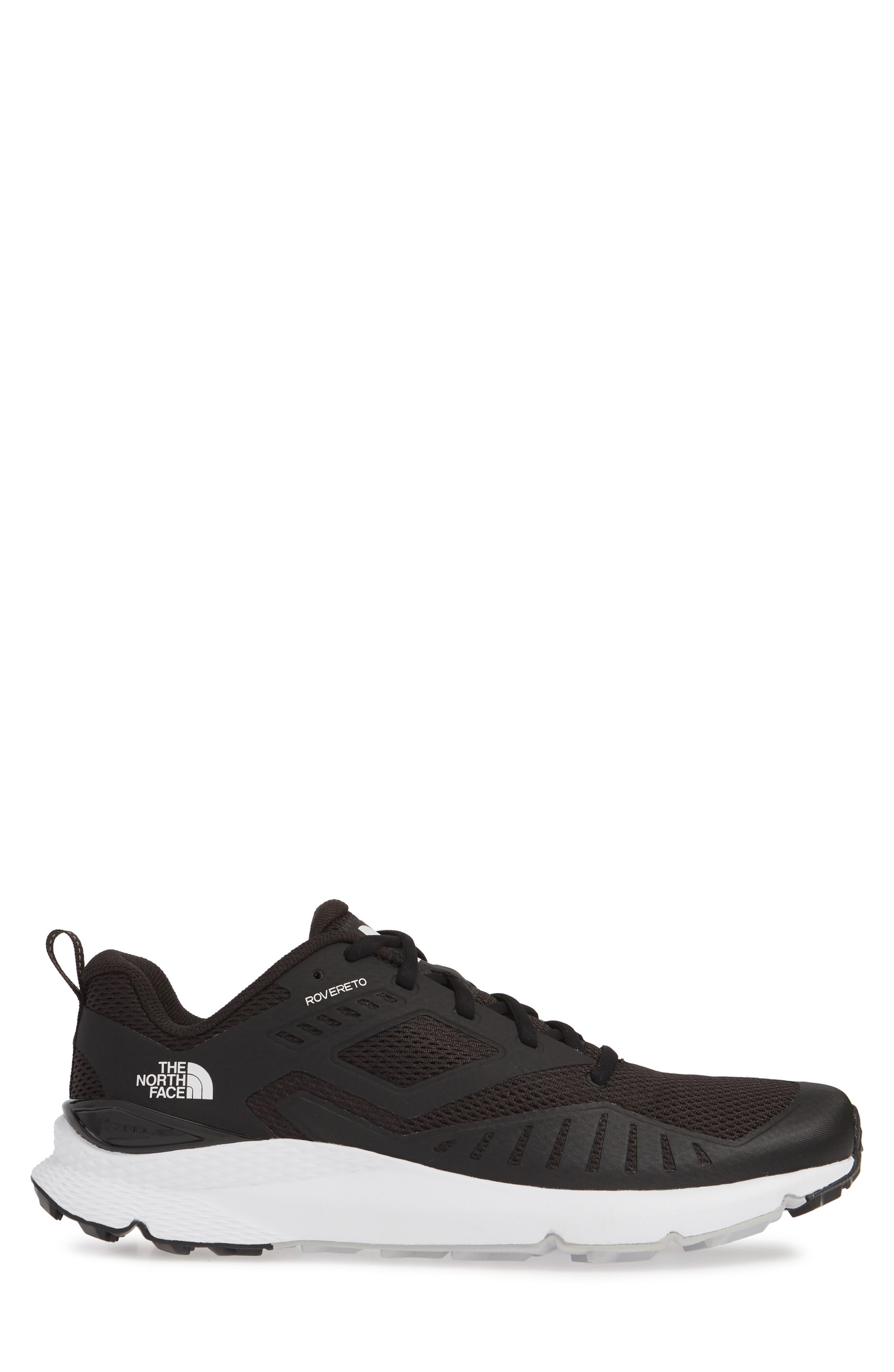 THE NORTH FACE, Rovereto Running Shoe, Alternate thumbnail 3, color, BLACK/ WHITE
