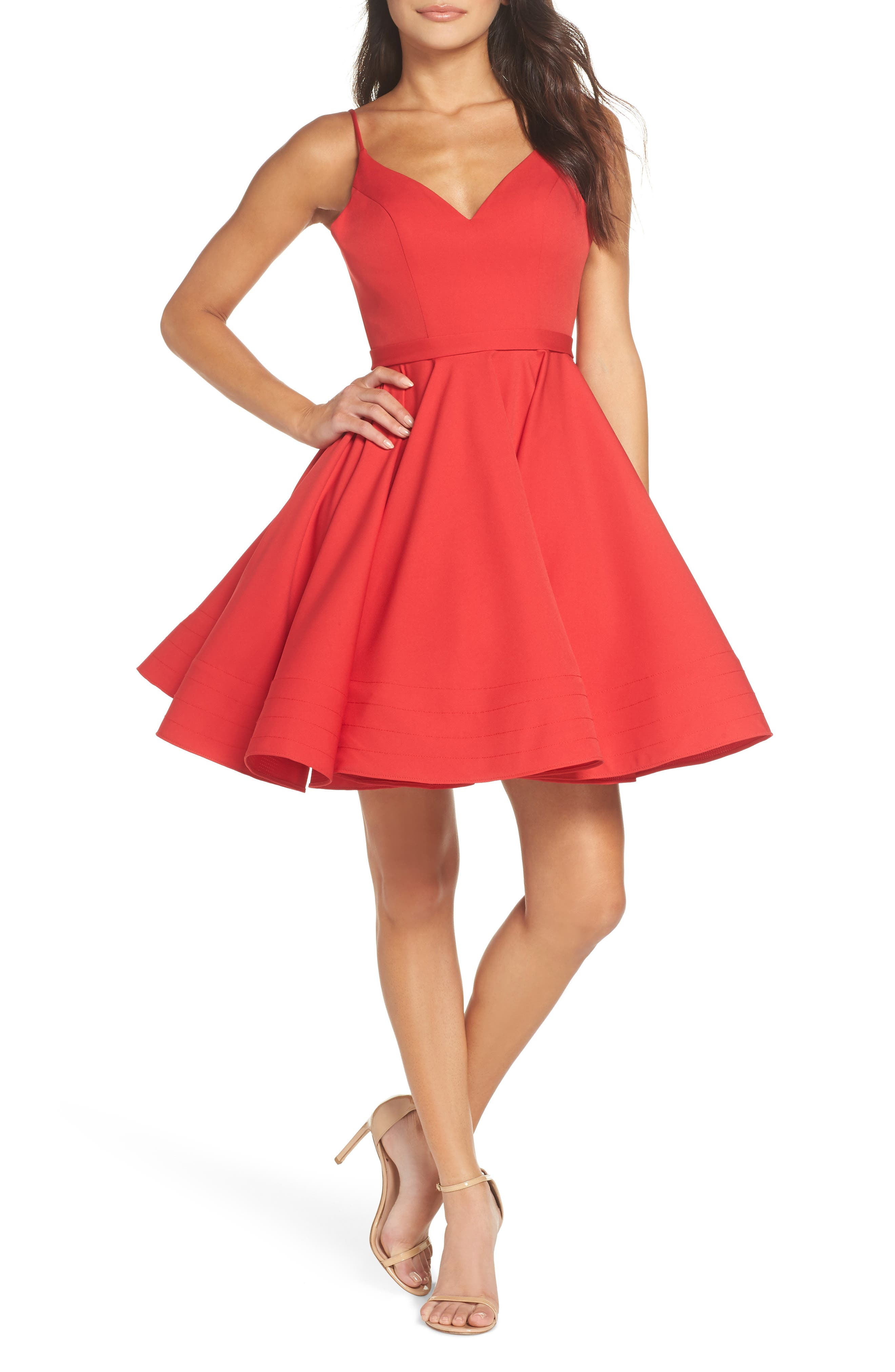 MAC Duggal Fit & Flare Party Dress, Red
