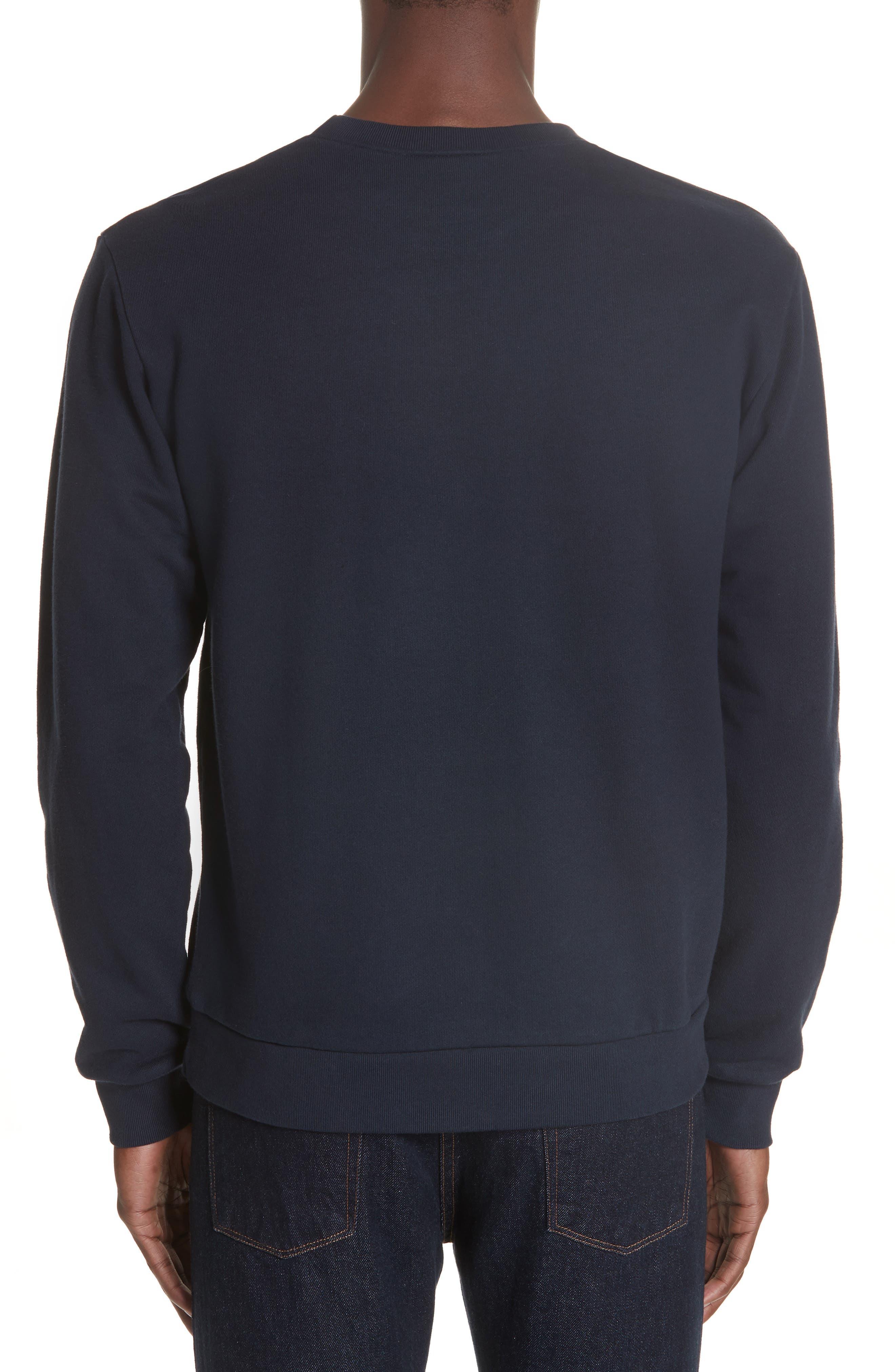 A.P.C., New Logo Crewneck Sweatshirt, Alternate thumbnail 2, color, IAK NAVY