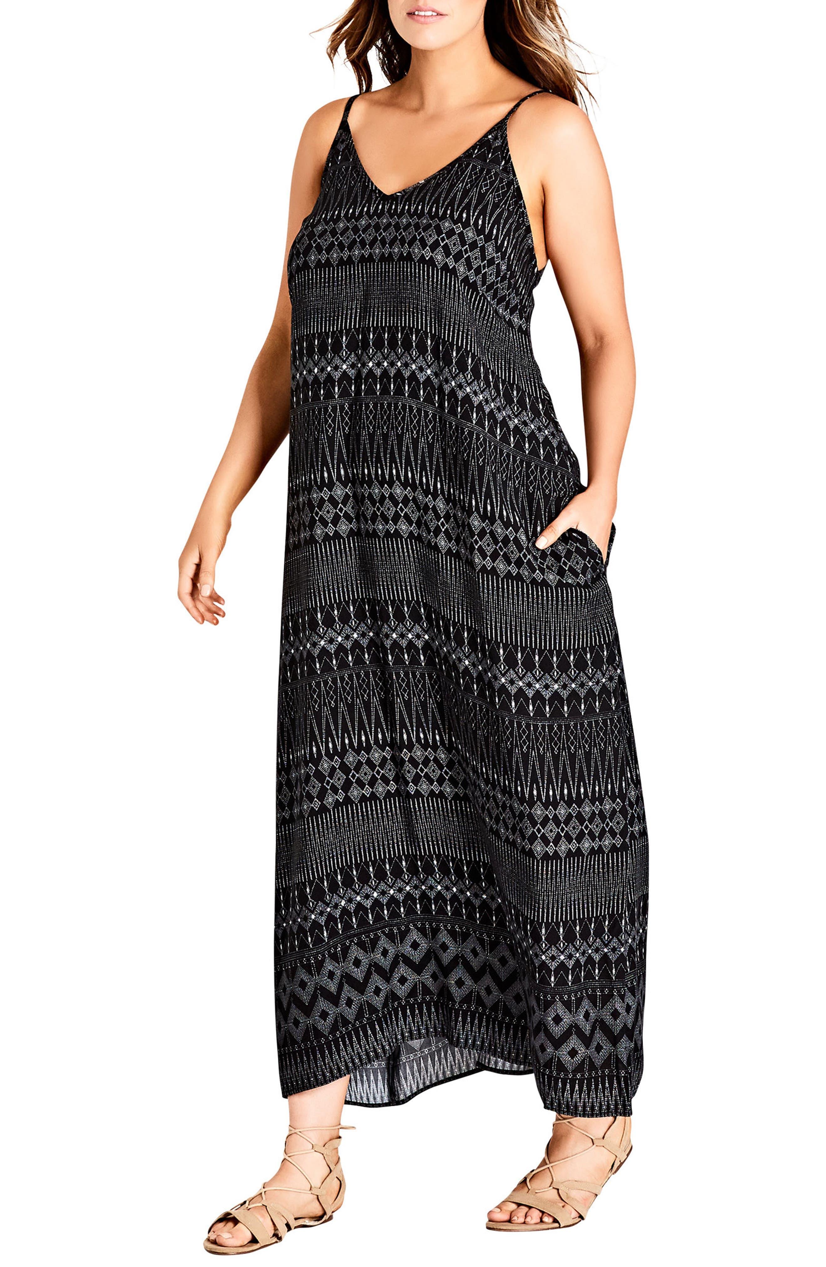 CITY CHIC, Safari Maxi Dress, Main thumbnail 1, color, BLACK PRINT