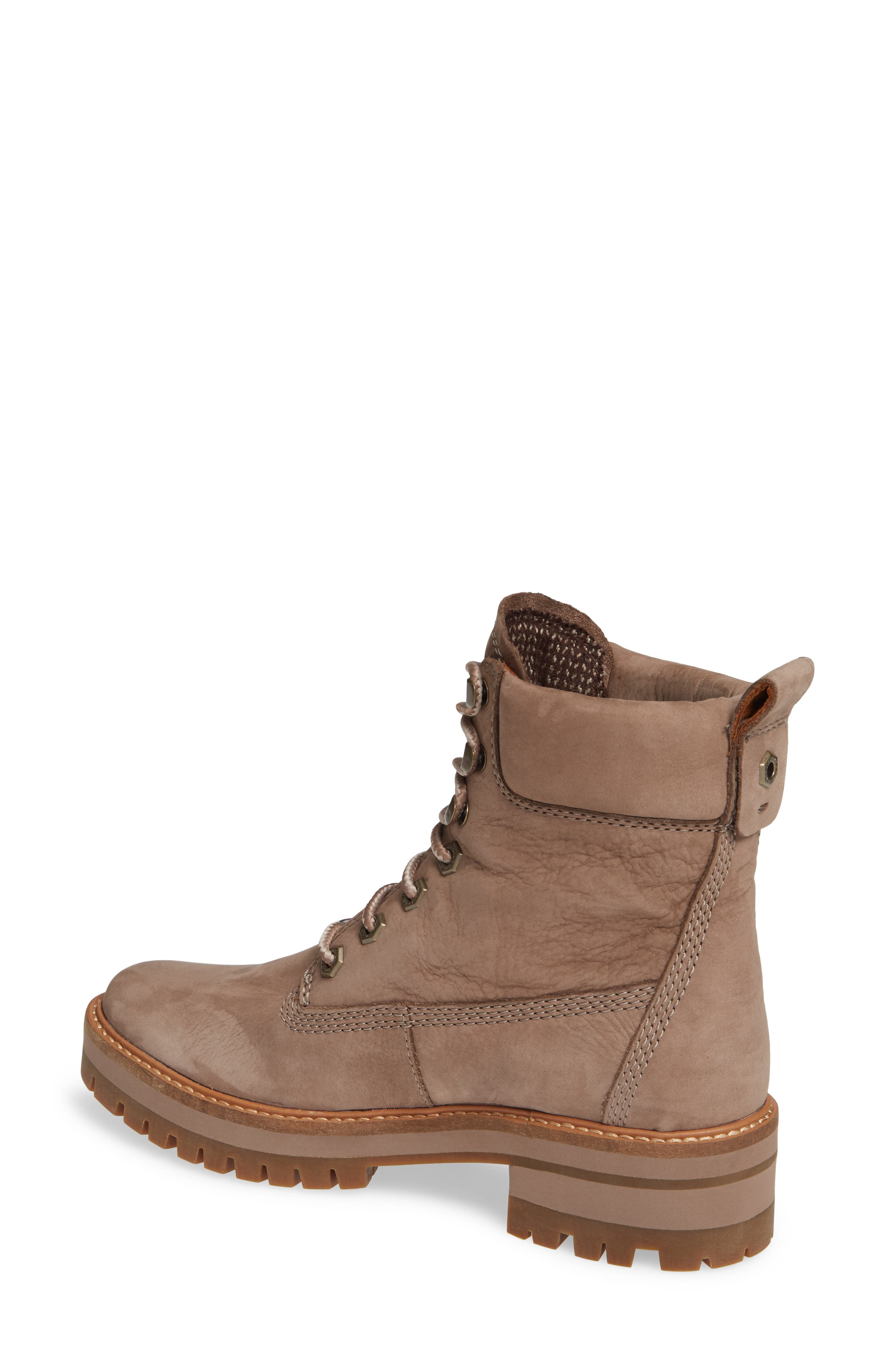 TIMBERLAND, Courmayeur Valley Water Resistant Hiking Boot, Alternate thumbnail 2, color, TAUPE GREY NUBUCK