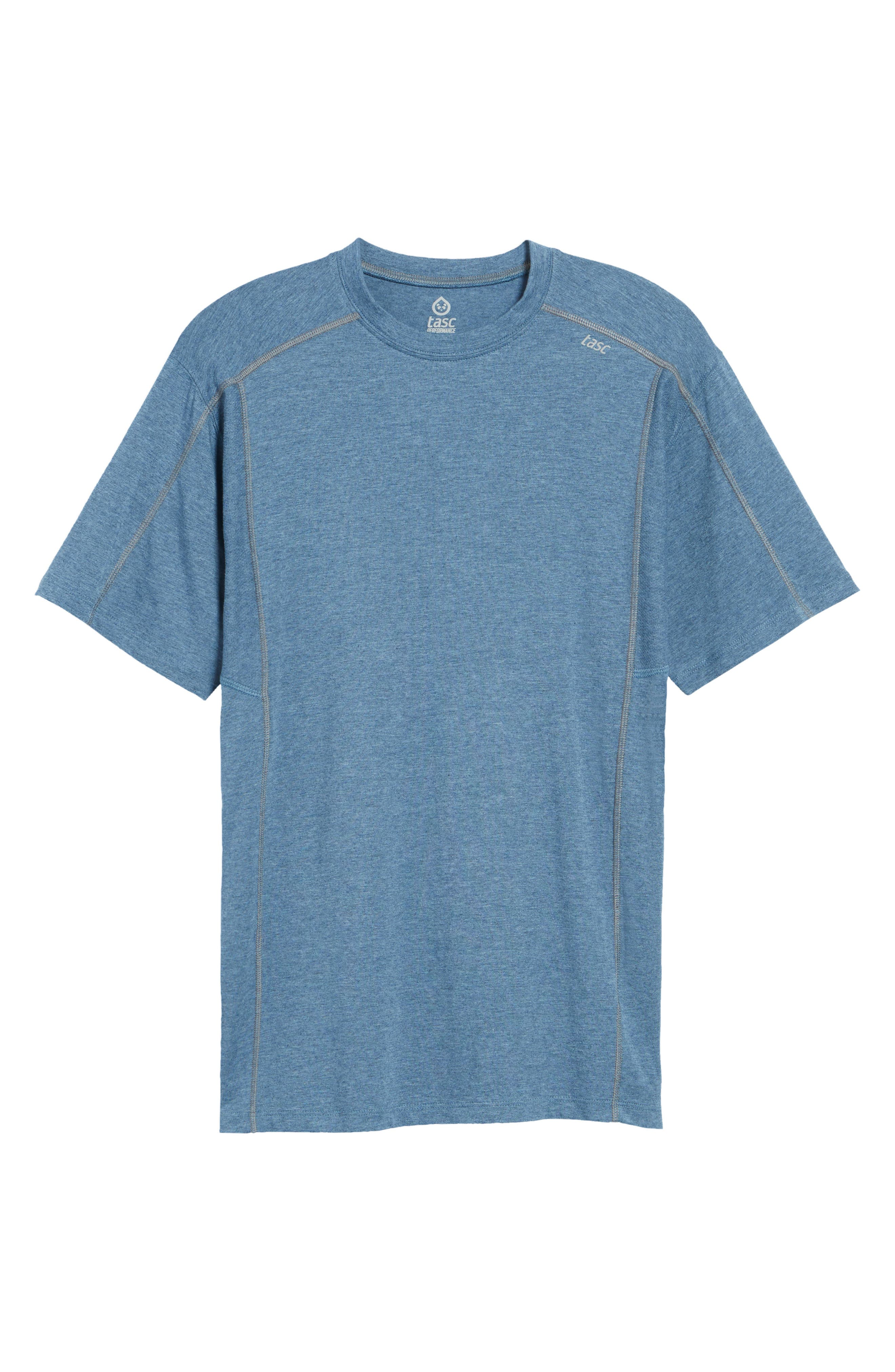 TASC PERFORMANCE, Charge Semi-Fitted T-Shirt, Alternate thumbnail 6, color, INDIGO HEATHER