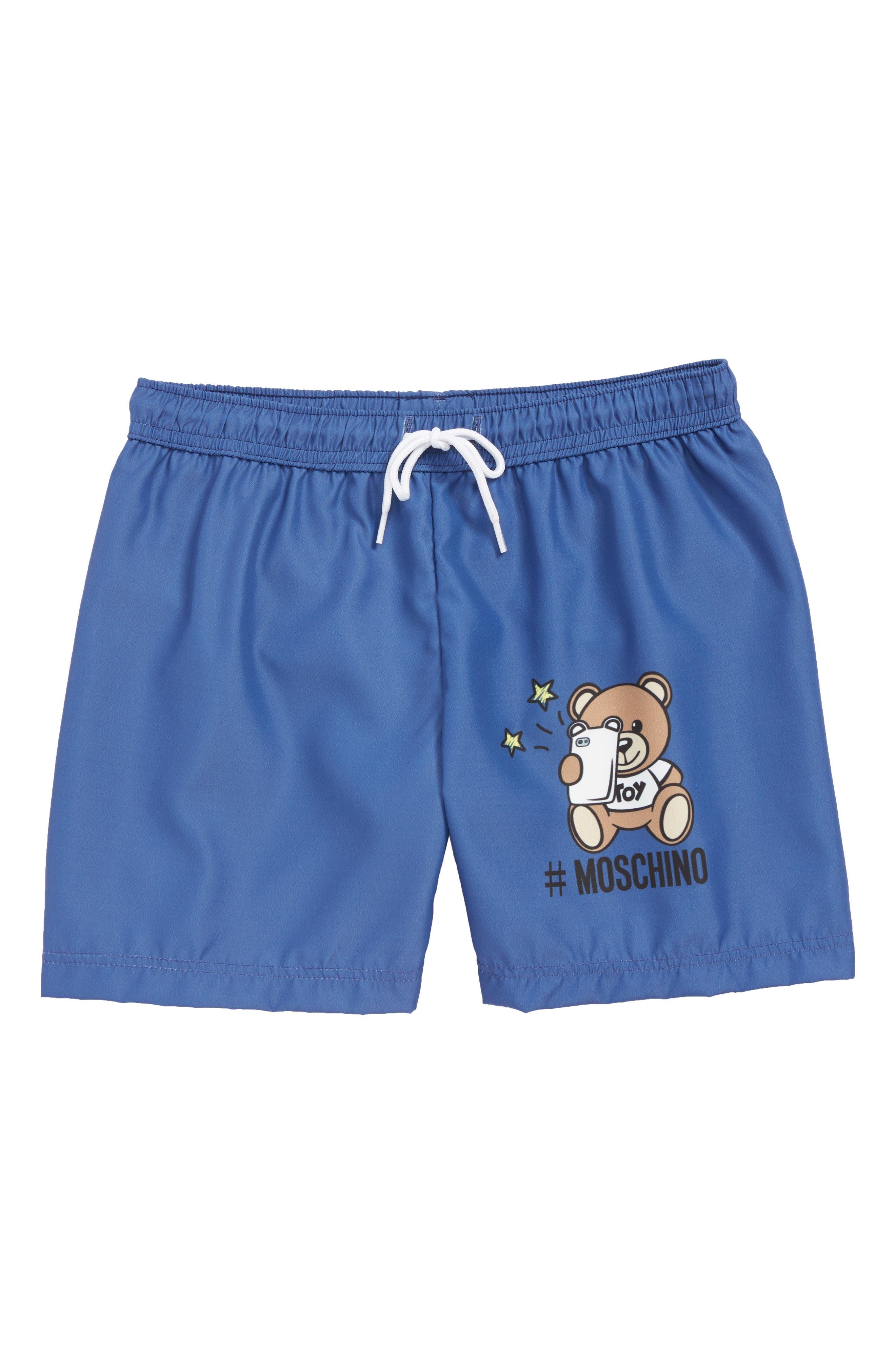 MOSCHINO Logo Bear Graphic Board Shorts, Main, color, NAVY