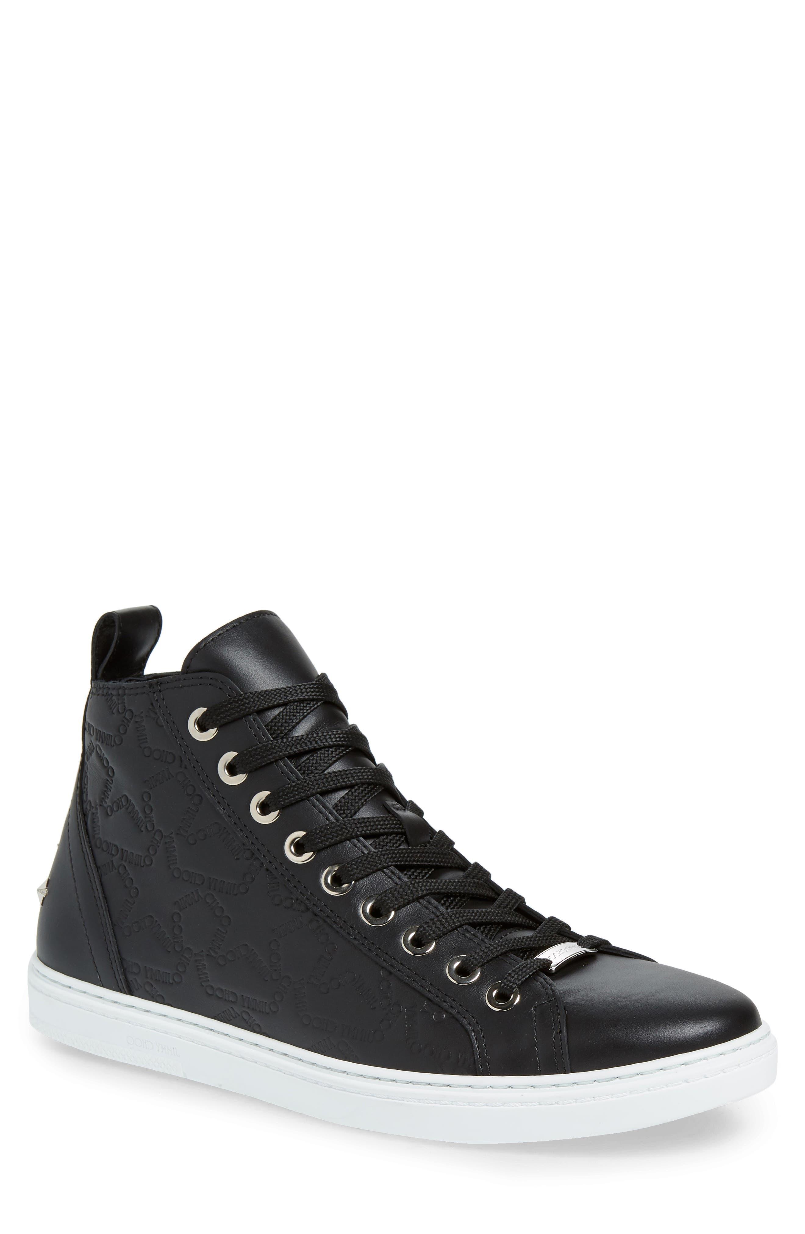 JIMMY CHOO, Colt High Top Sneaker, Main thumbnail 1, color, BLACK
