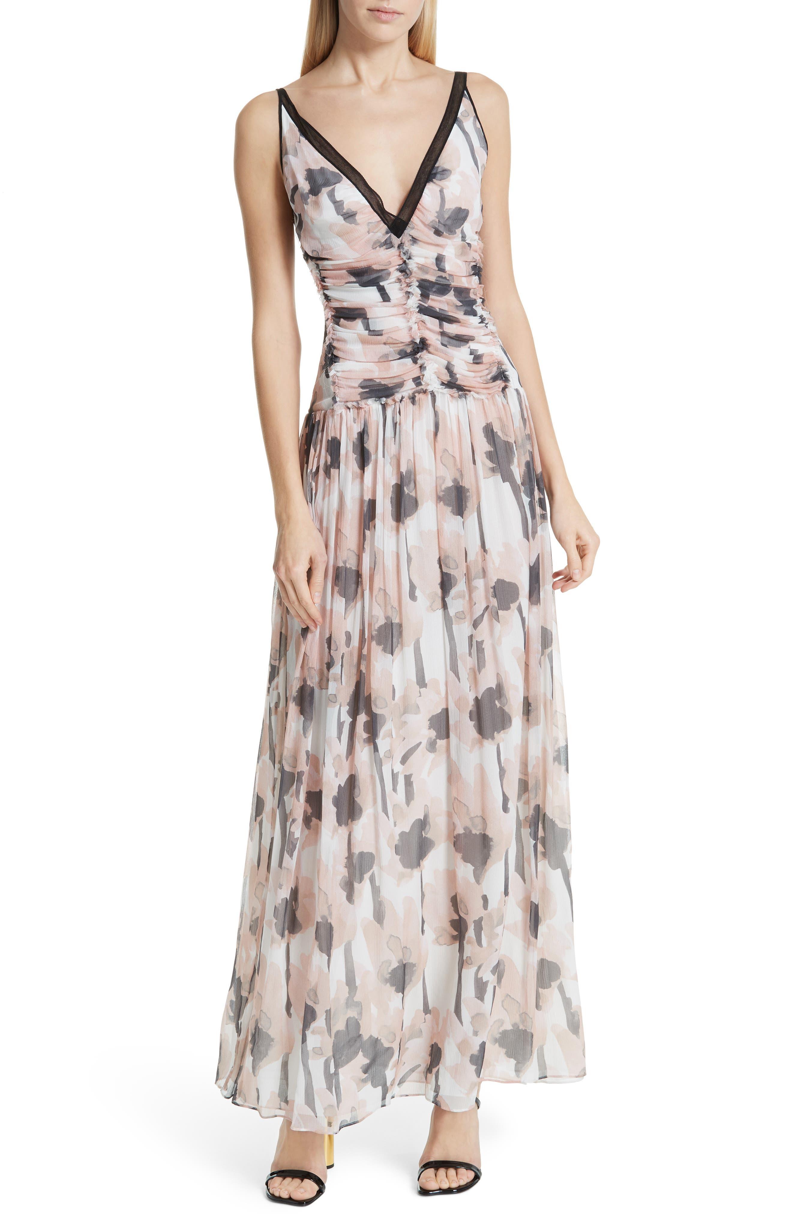 Jason Wu Watercolor Poppy Silk Maxi Dress, Pink