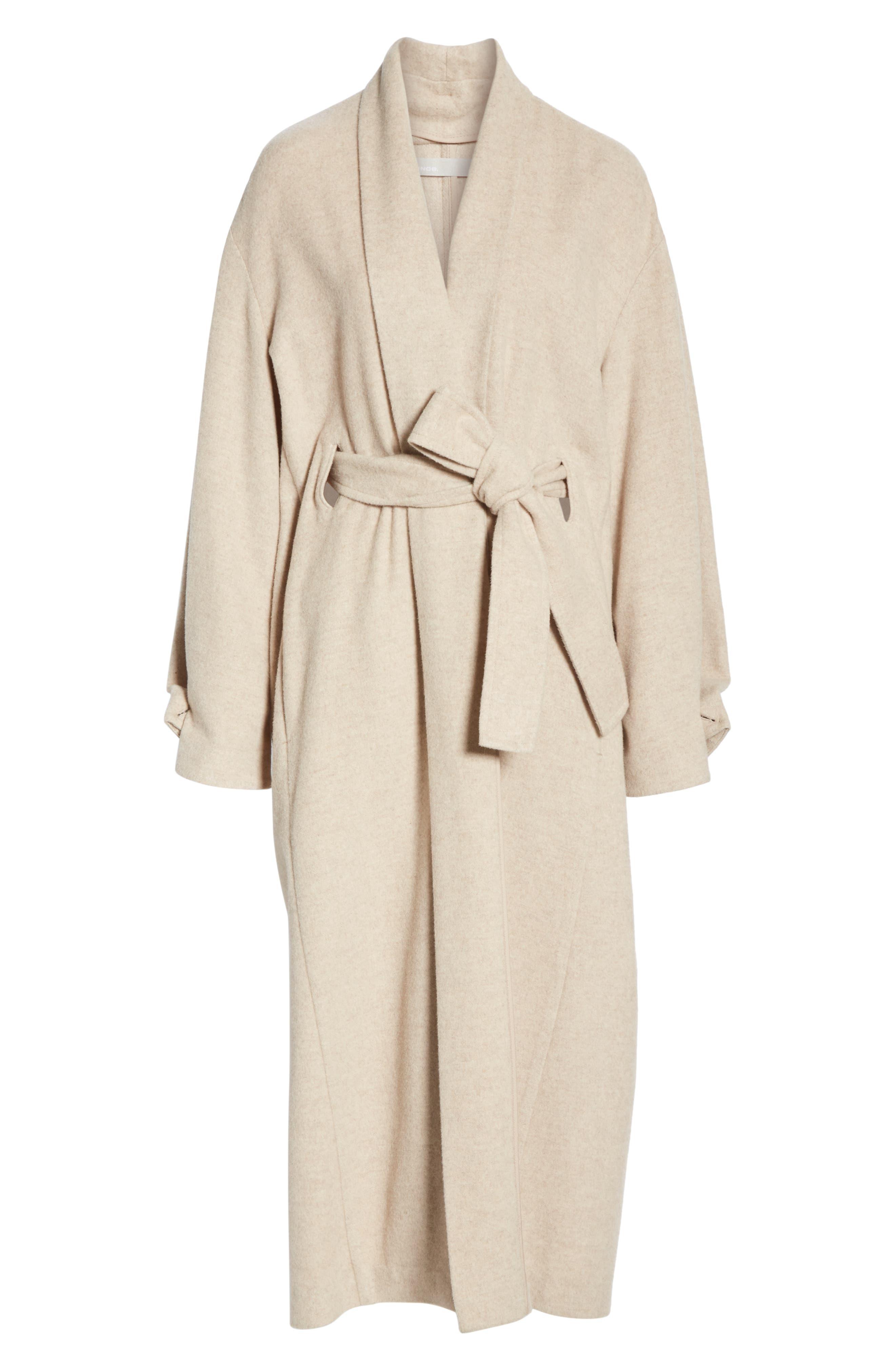 VINCE, Wool Blend Wrap Coat, Alternate thumbnail 6, color, H SHALE