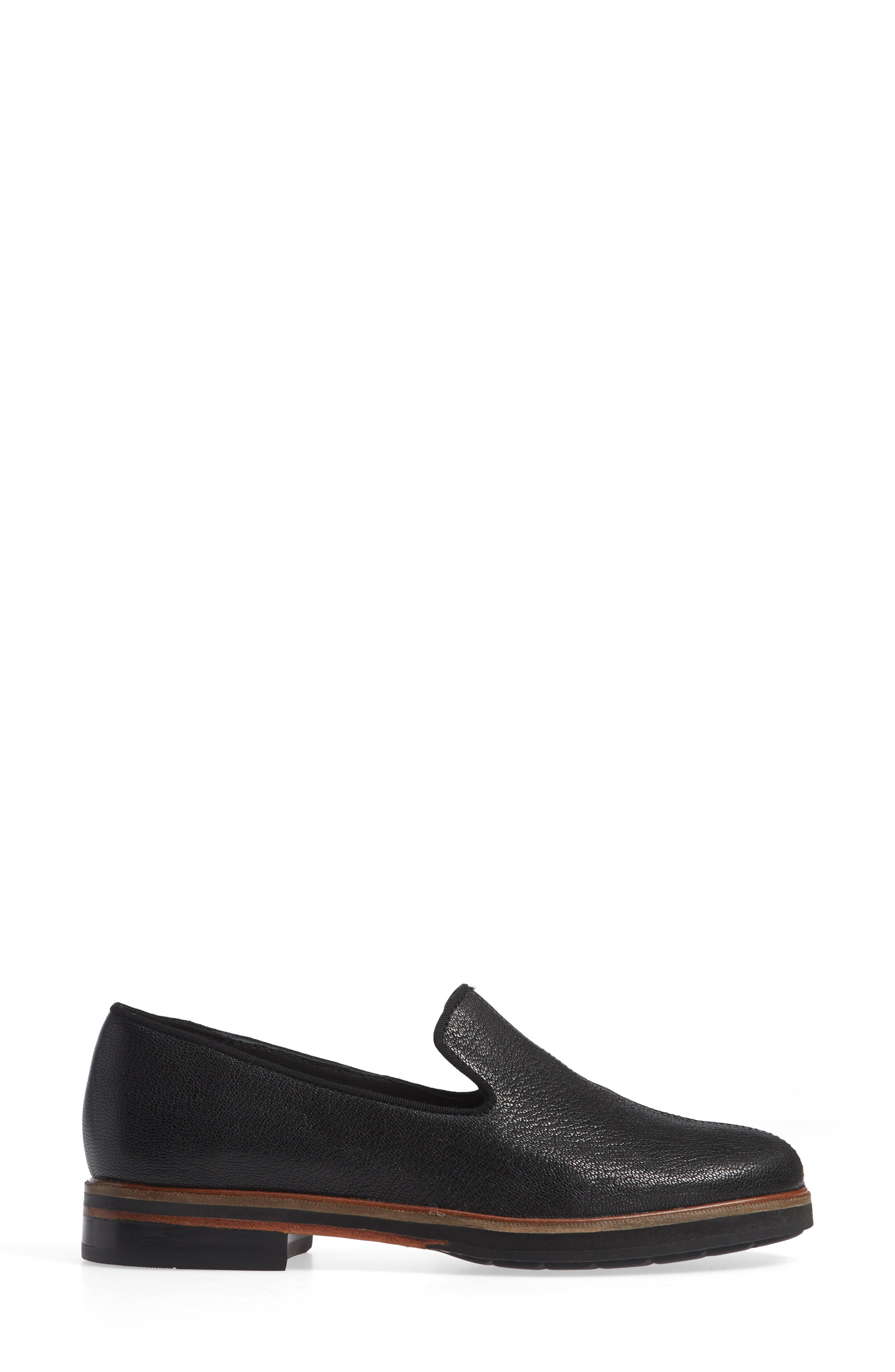 CLARKS<SUP>®</SUP>, Frida Loafer, Alternate thumbnail 3, color, BLACK TUMBLED LEATHER