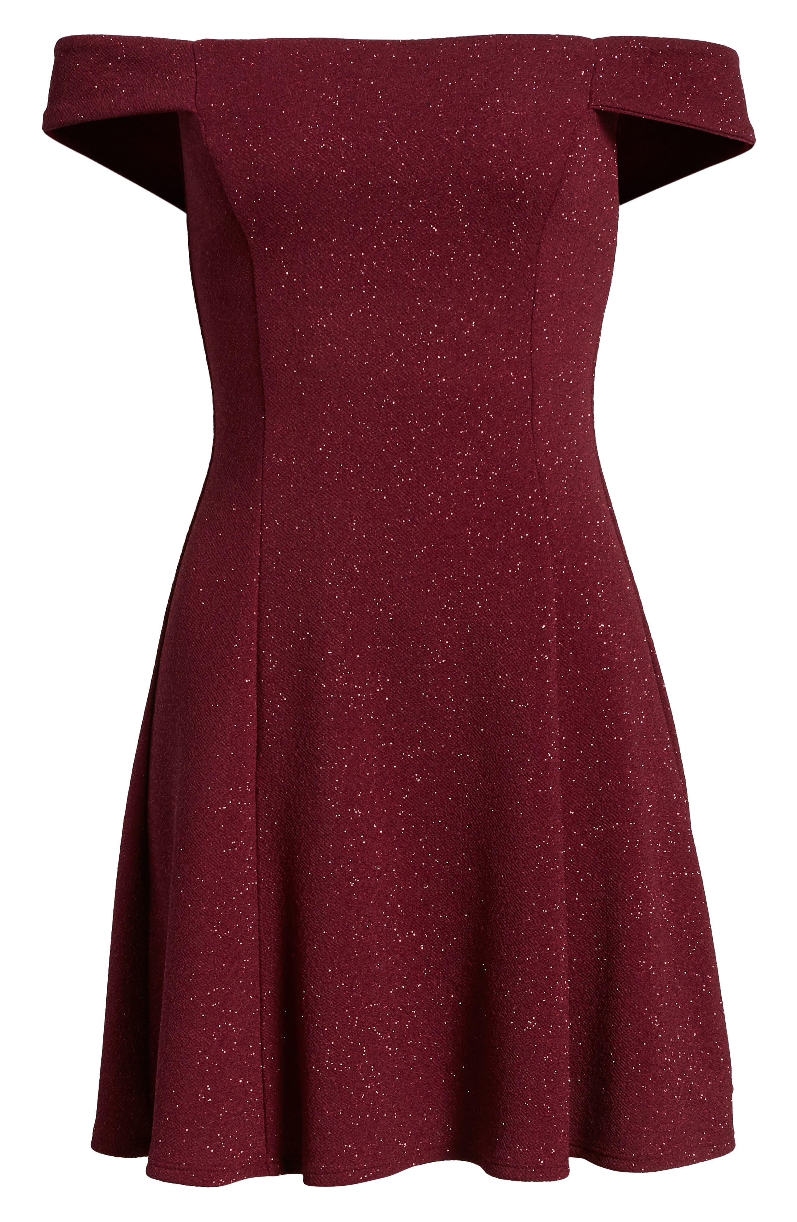 SPEECHLESS, Glitter Off the Shoulder Dress, Alternate thumbnail 7, color, BURGUNDY
